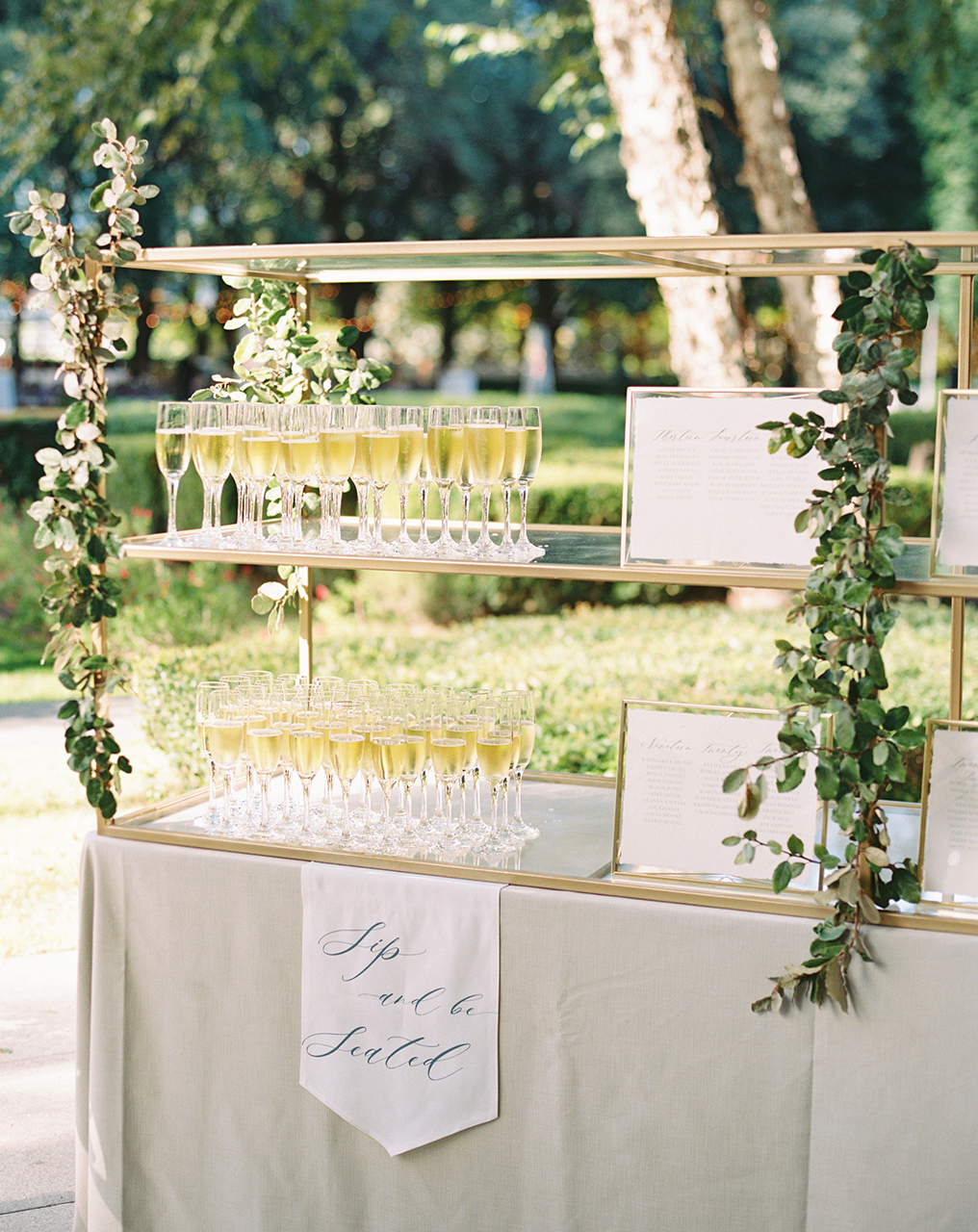 outdoor ceremony champagne tower