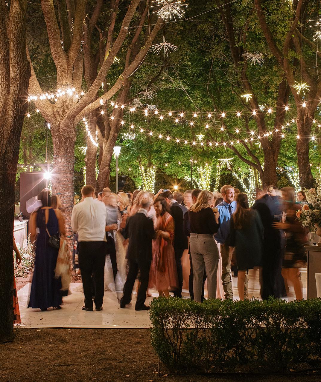 outdoor wedding reception guests dance floor