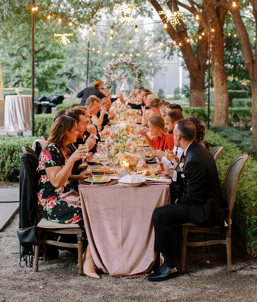 wedding reception family-style dinner outdoors