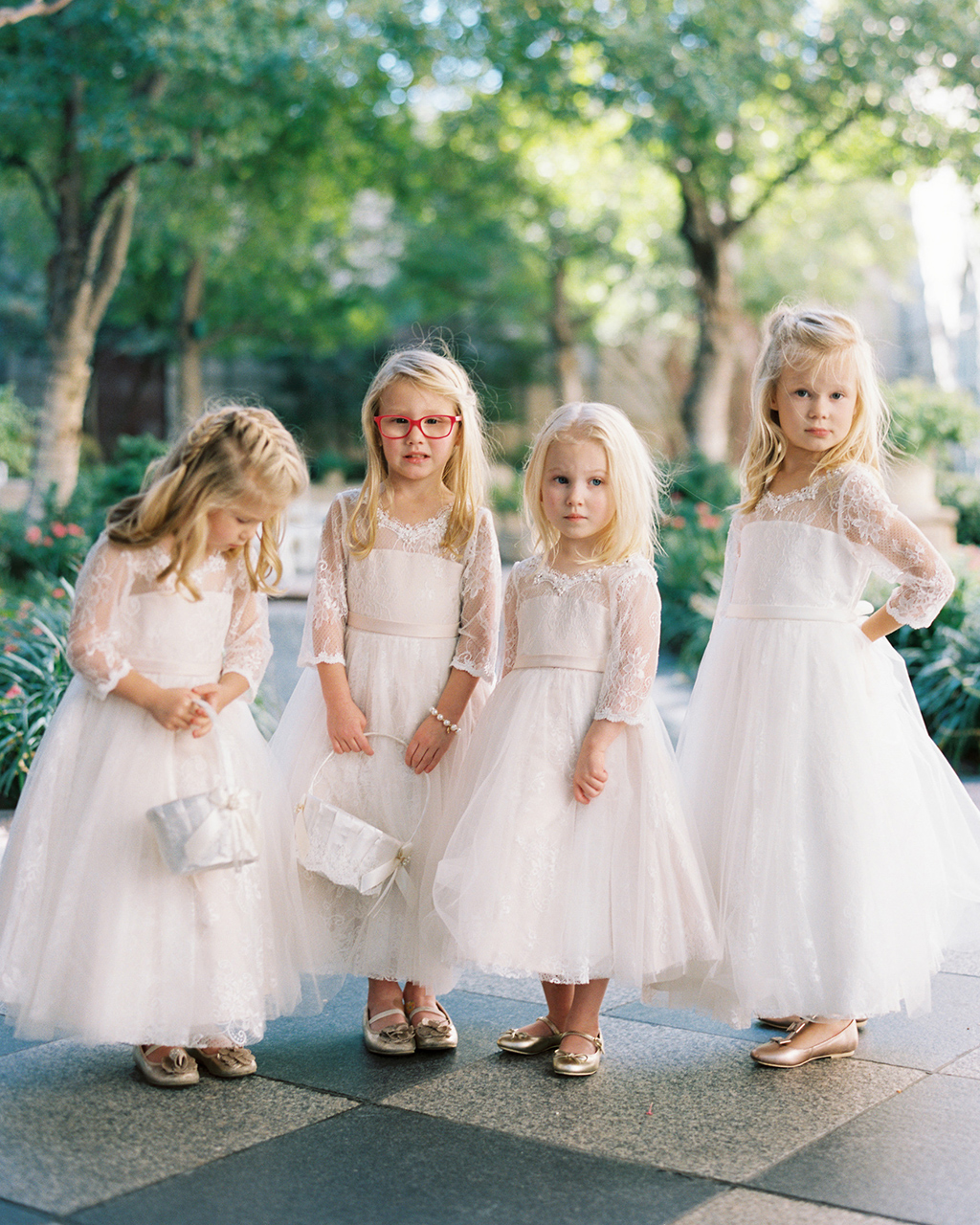 flower girl long sleeve blush lace dresses