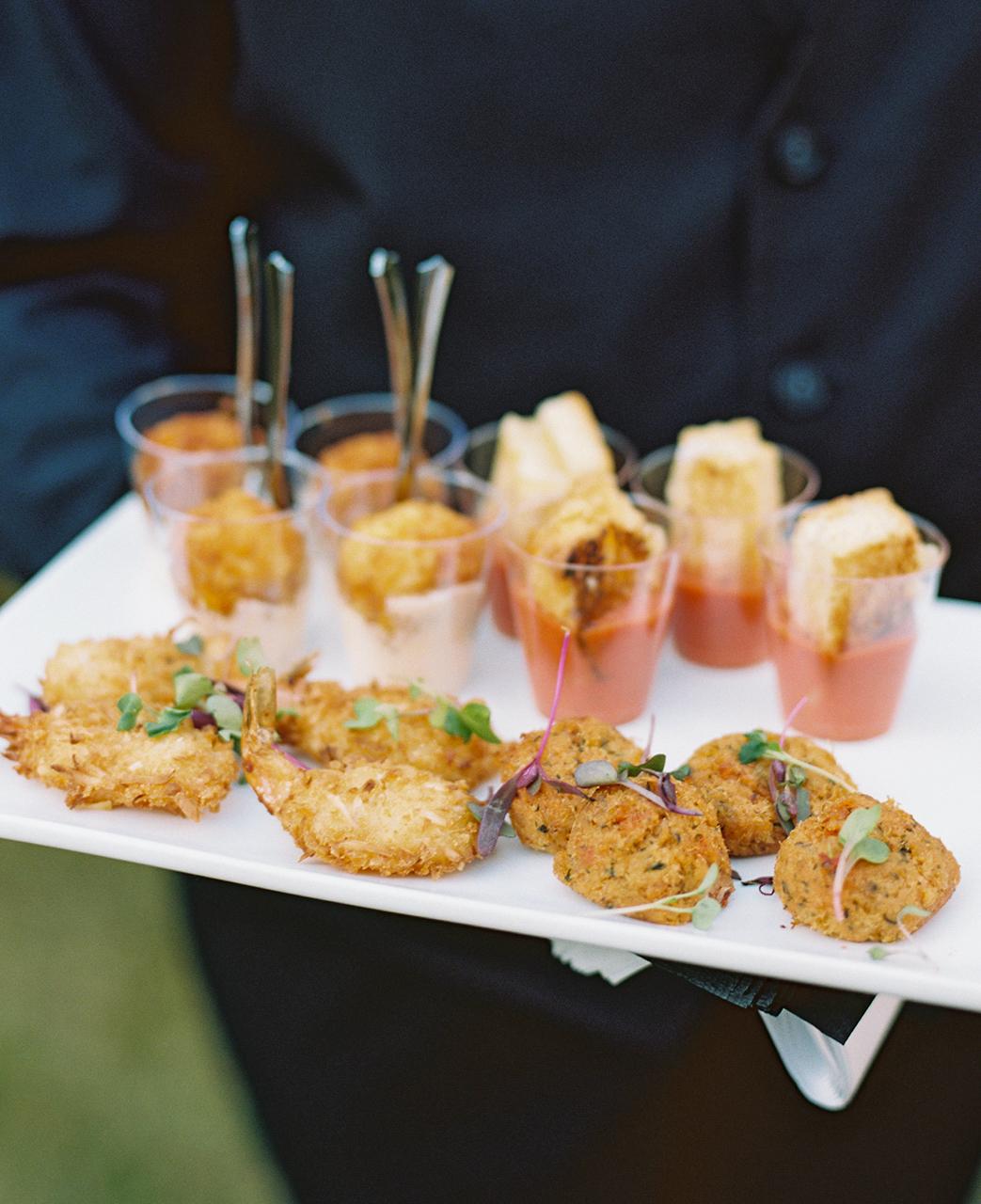 cocktail hour crab cakes coconut shrimp appetizers