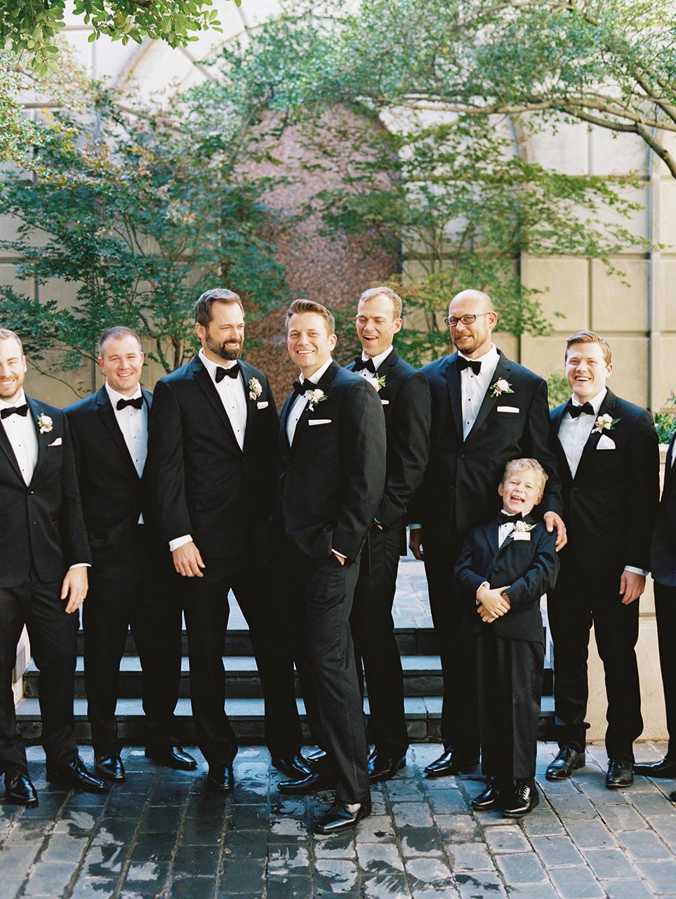 wedding groomsmen classic black tuxedos