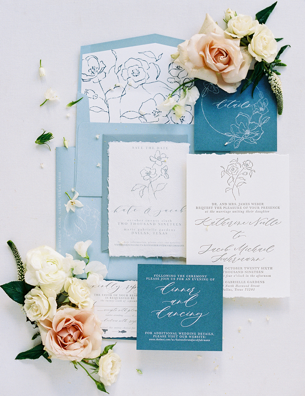 blue palette invitation suite torn edging floral detail