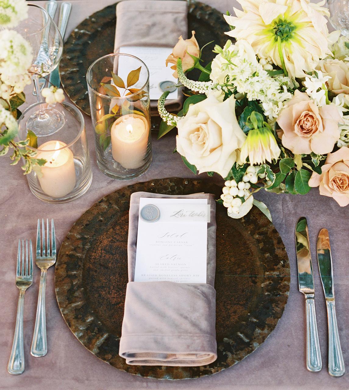 Lush low centerpiece arrangements dinner menu