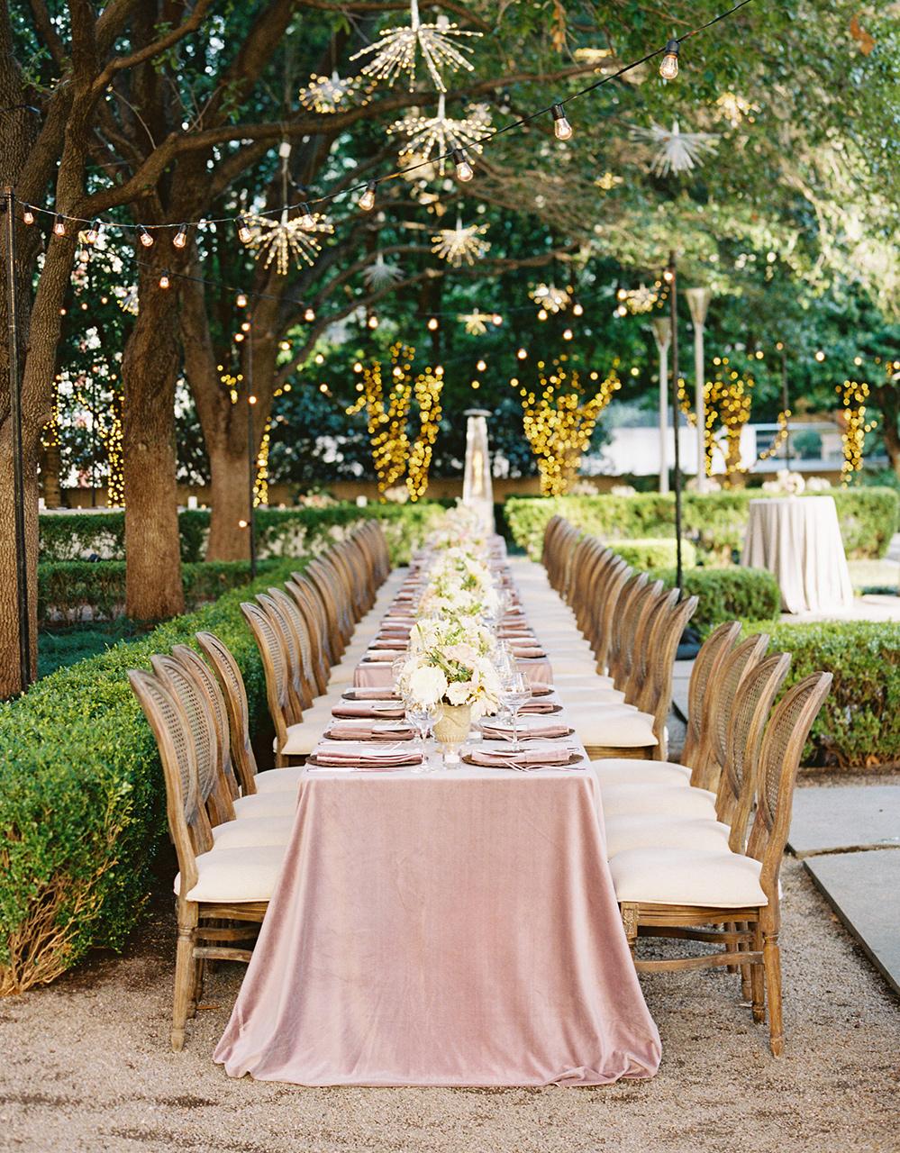 outdoor garden wedding reception velvet linens