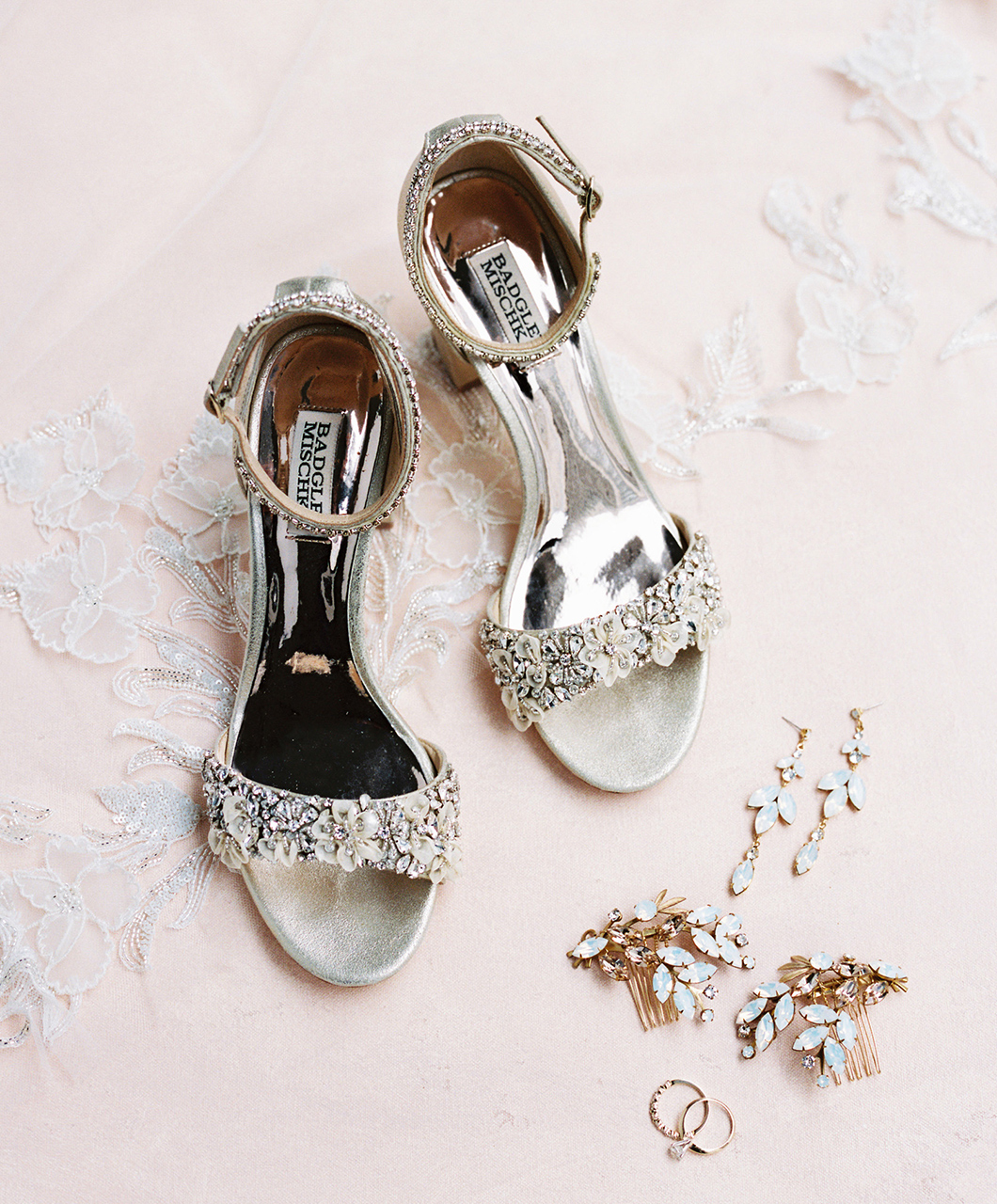 bride shoes and jewelry finishing touches