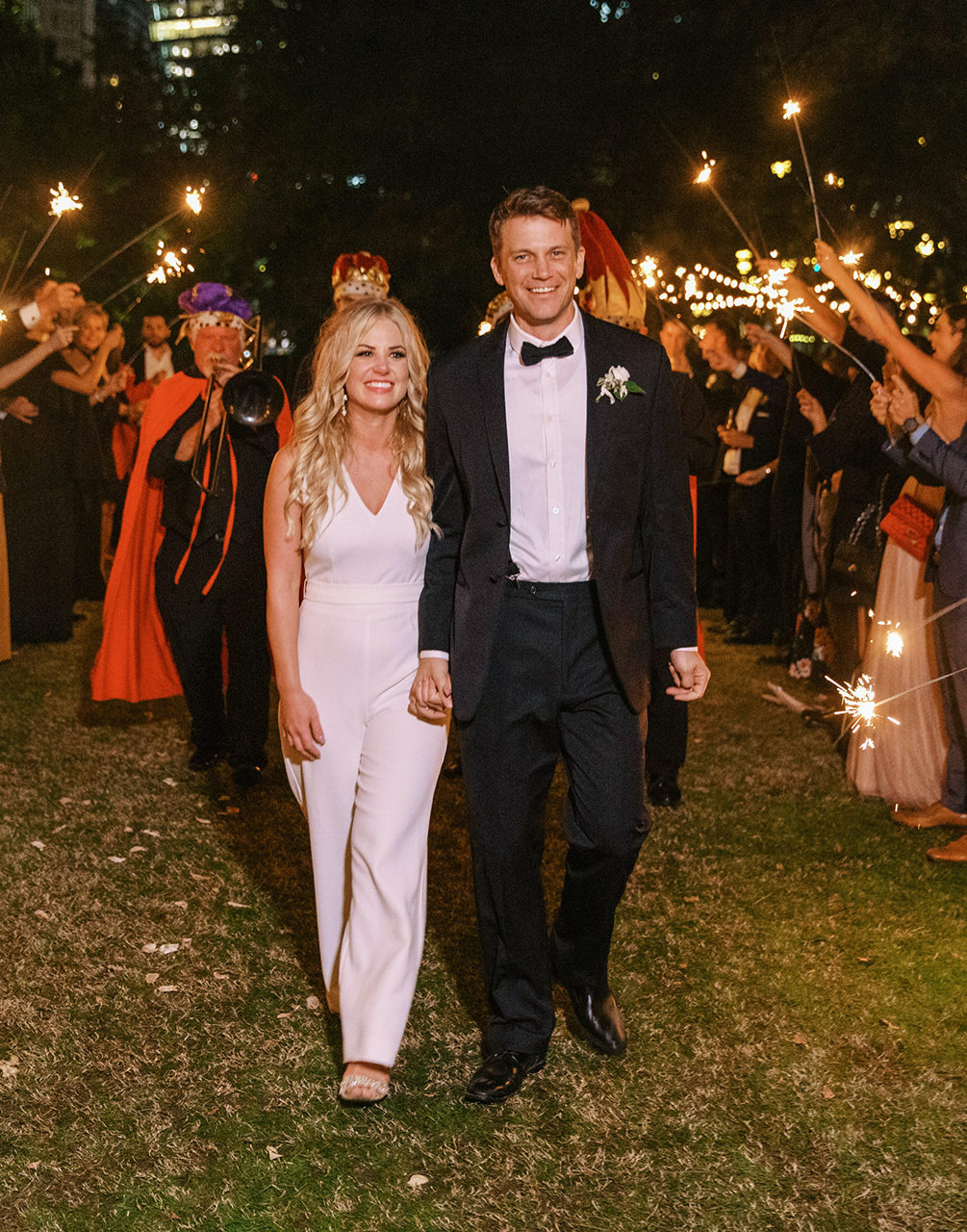 bride groom night send off with sparklers