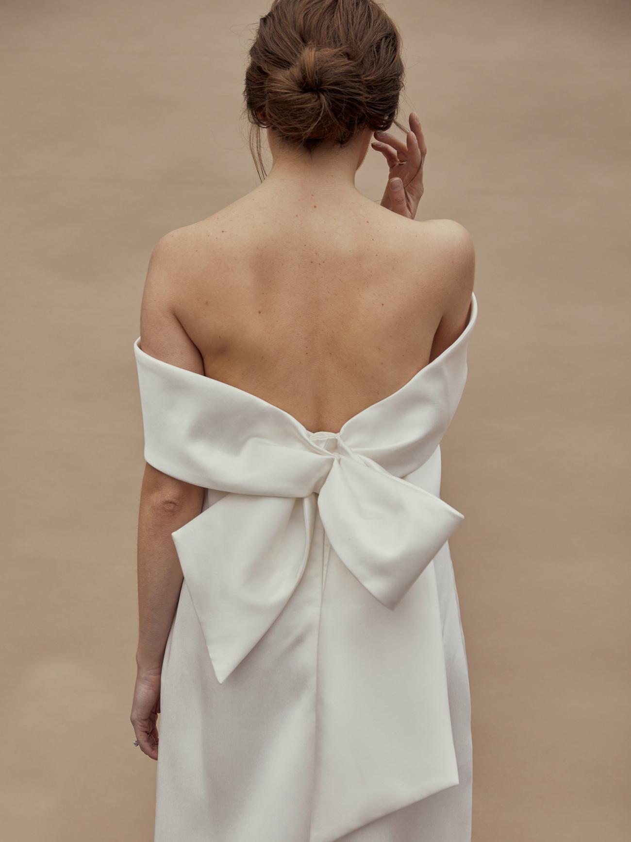 amsale off-the-shoulder bow back wedding dress spring 2021