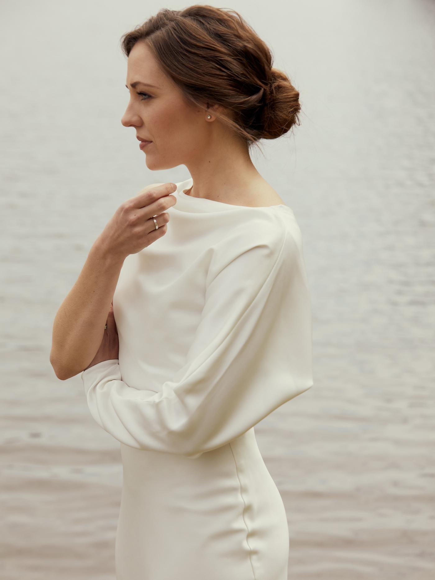 amsale high neck long sleeve wedding dress spring 2021