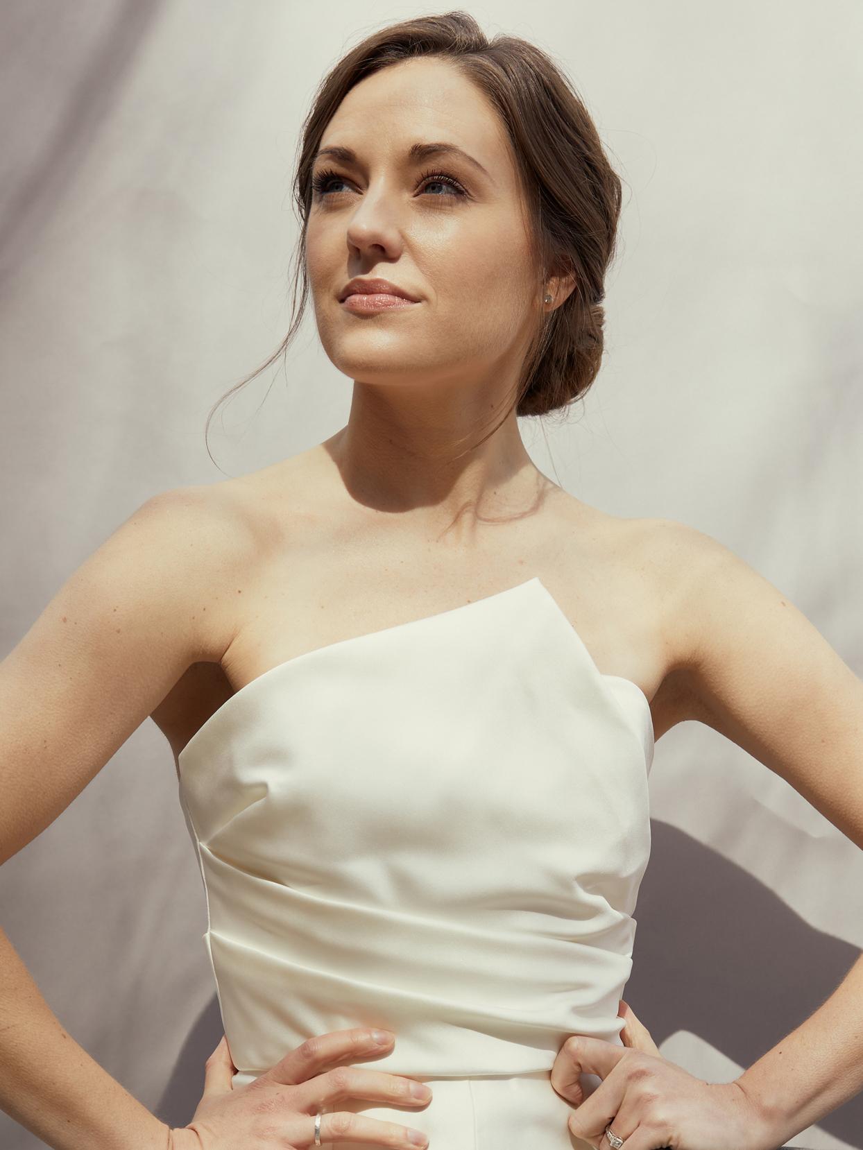 amsale strapless rouched bodice wedding dress spring 2021
