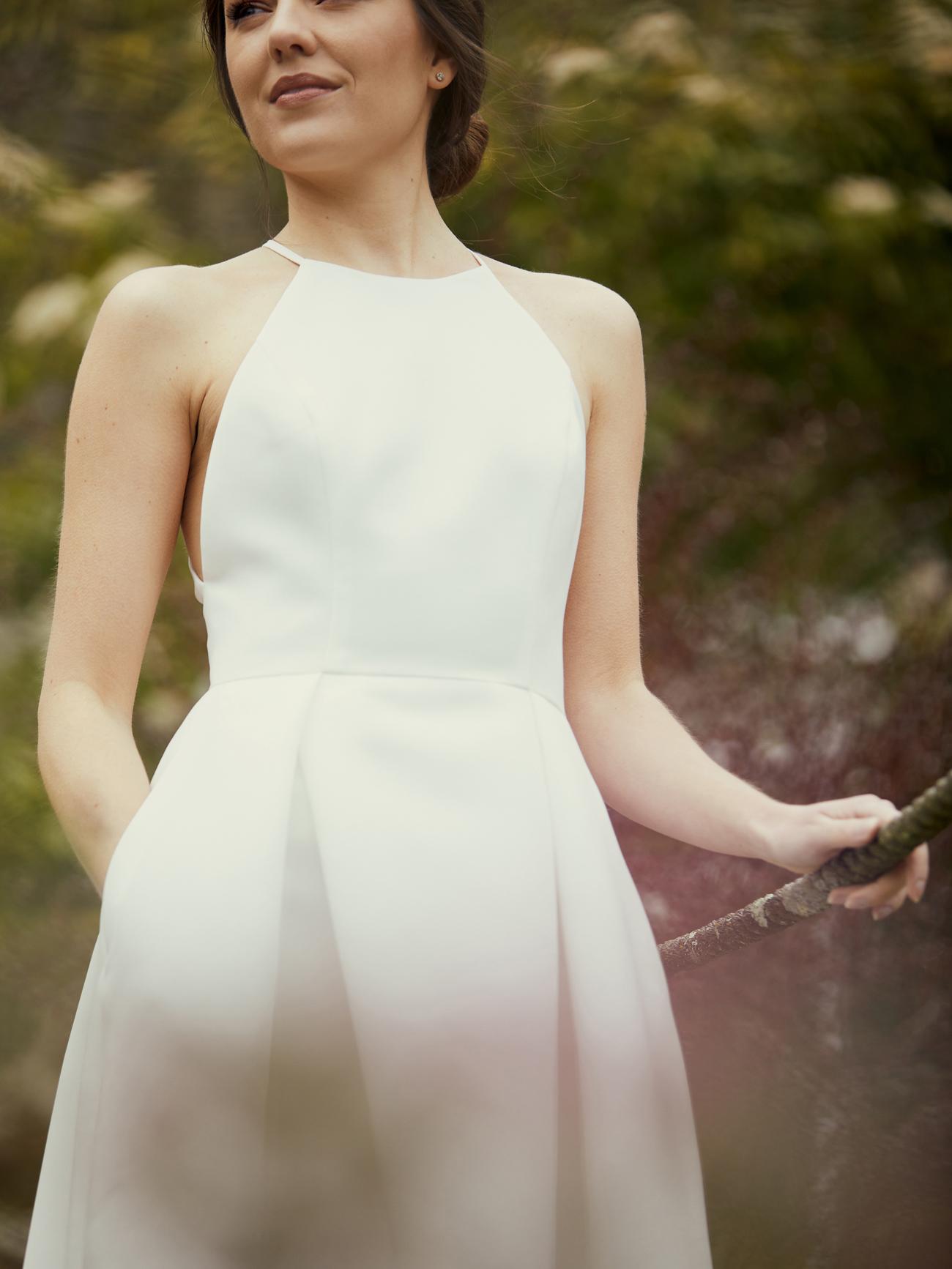 amsale high neck pockets wedding dress spring 2021