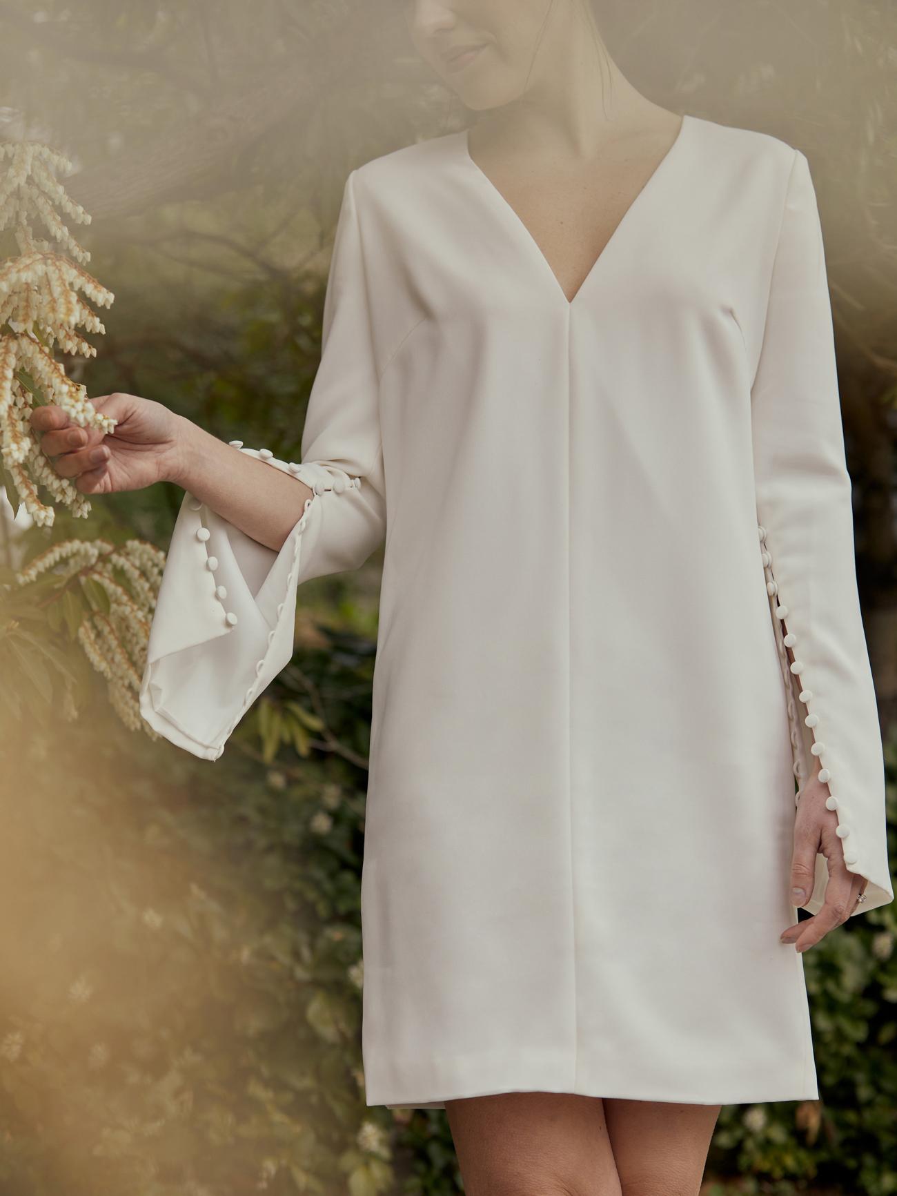 amsale short v-neck long sleeve wedding dress spring 2021