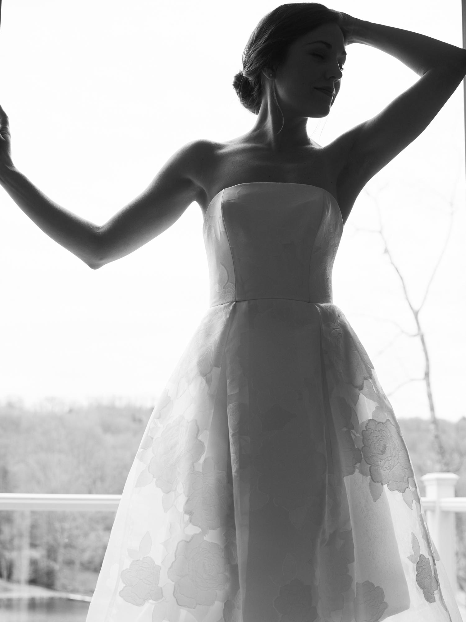 amsale straight across strapless short wedding dress spring 2021