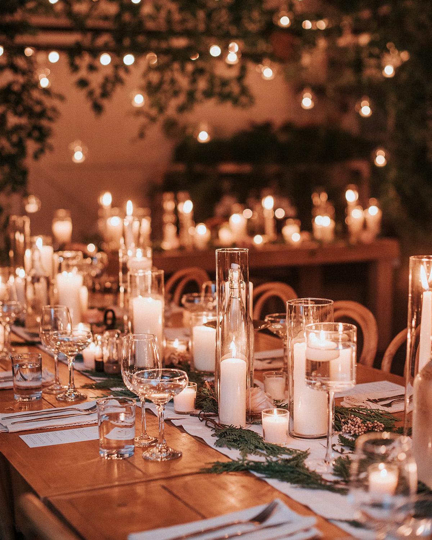 stephanie taurean wedding candles on tables