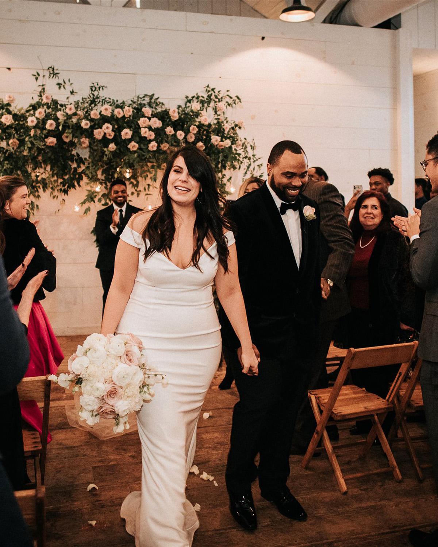 stephanie taurean wedding ceremony recessional couple
