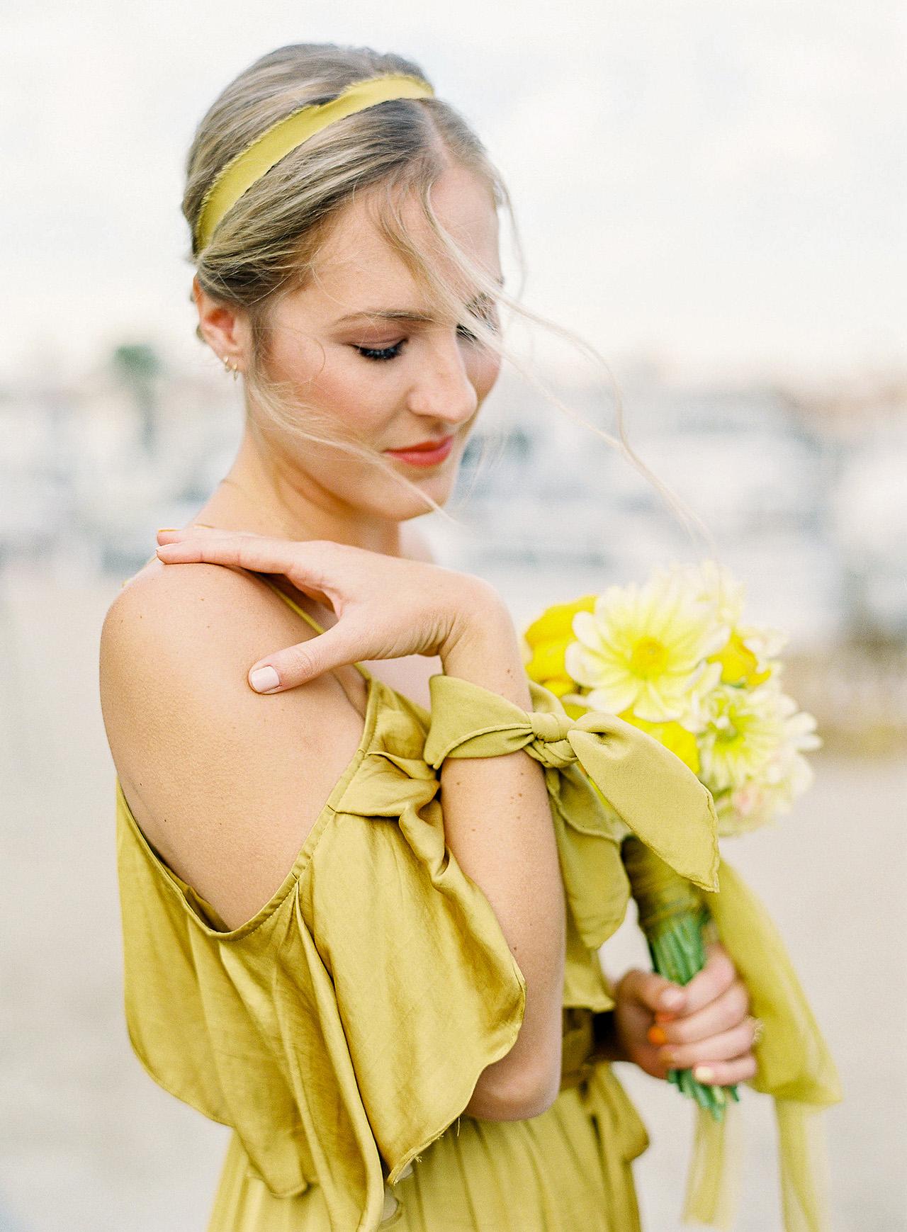 janelle stephen wedding bridesmaid yellow