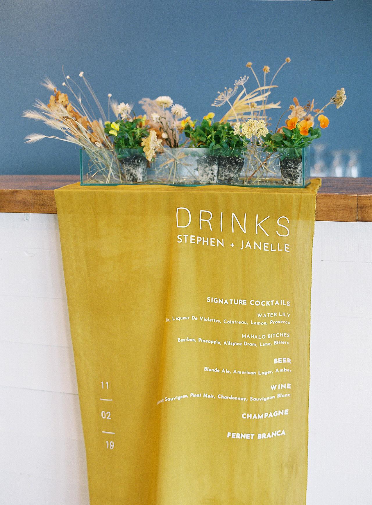 janelle stephen wedding drink menu