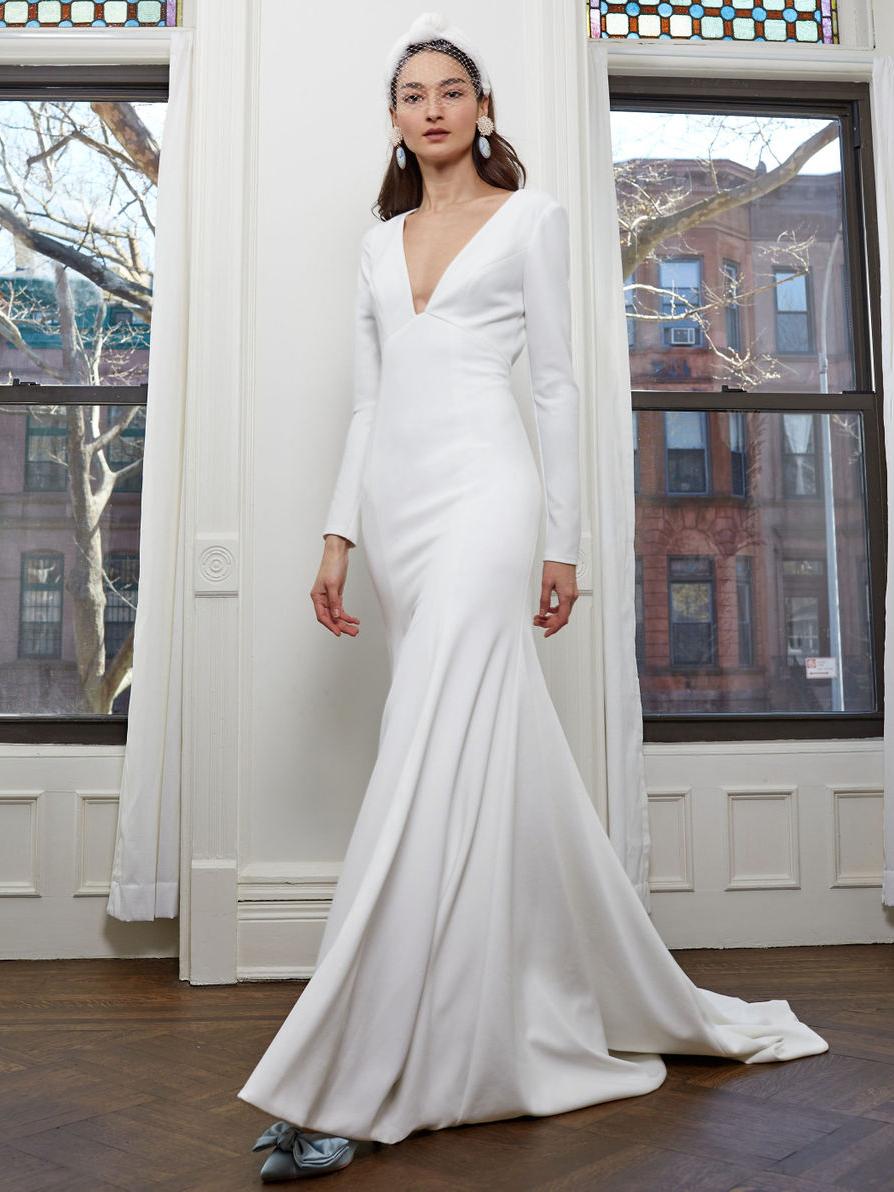 BHLDN long sleeve deep v-neck wedding dress fall 2020