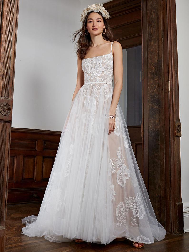 BHLDN straight across lace tulle overlay skirt wedding dress fall 2020