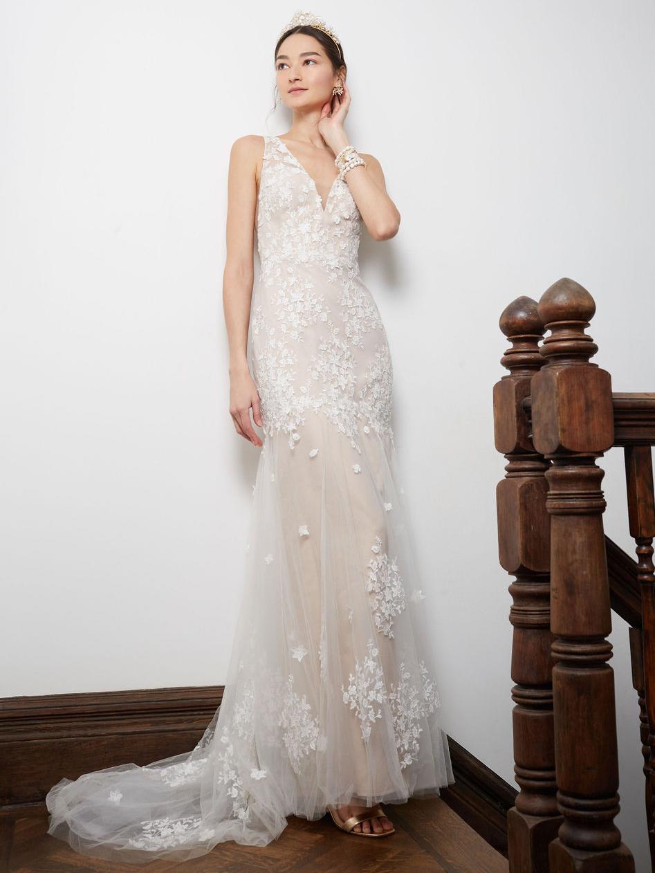 BHLDN wide strap lace train wedding dress fall 2020