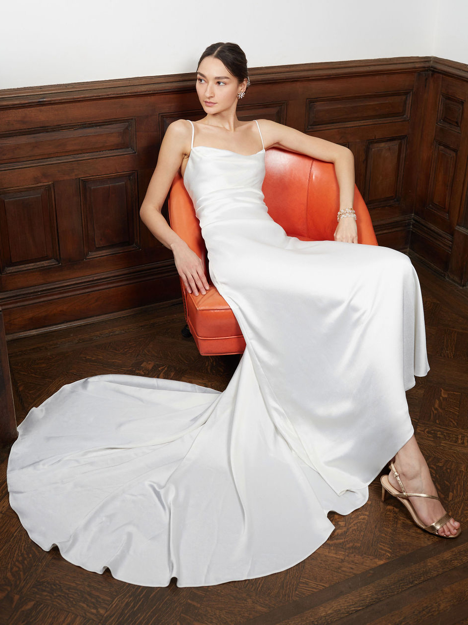 BHLDN thin strap straight across train wedding dress fall 2020