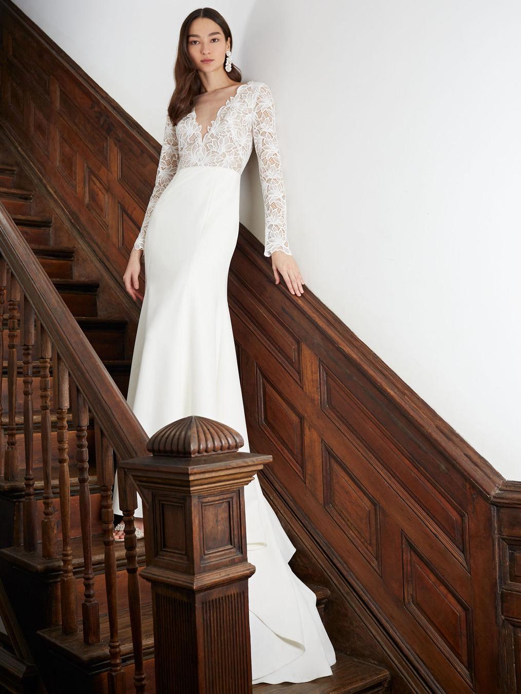 BHLDN long sleeve lace v-neck wedding dress fall 2020