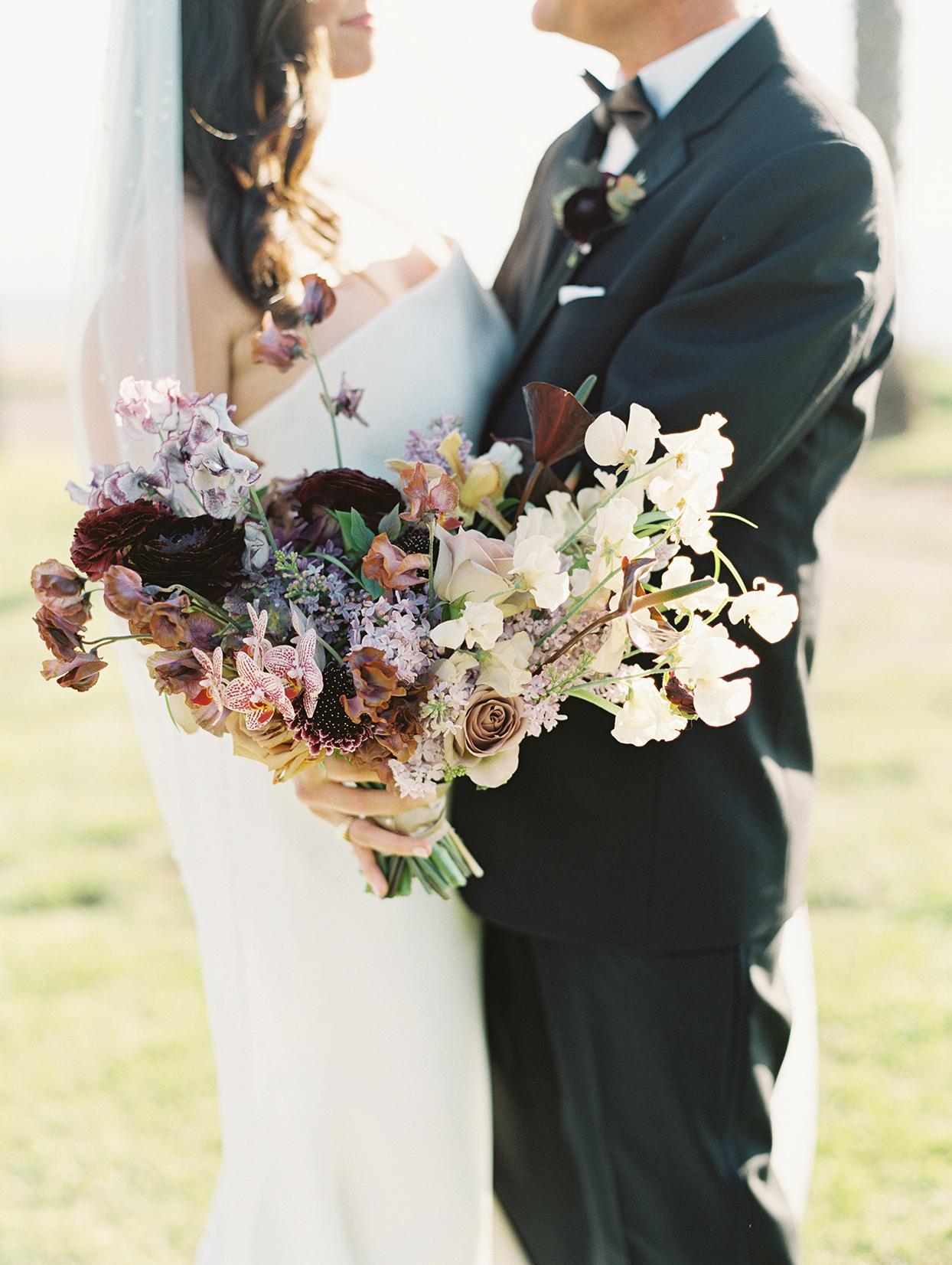 orange purple and neutrals wedding bouquet