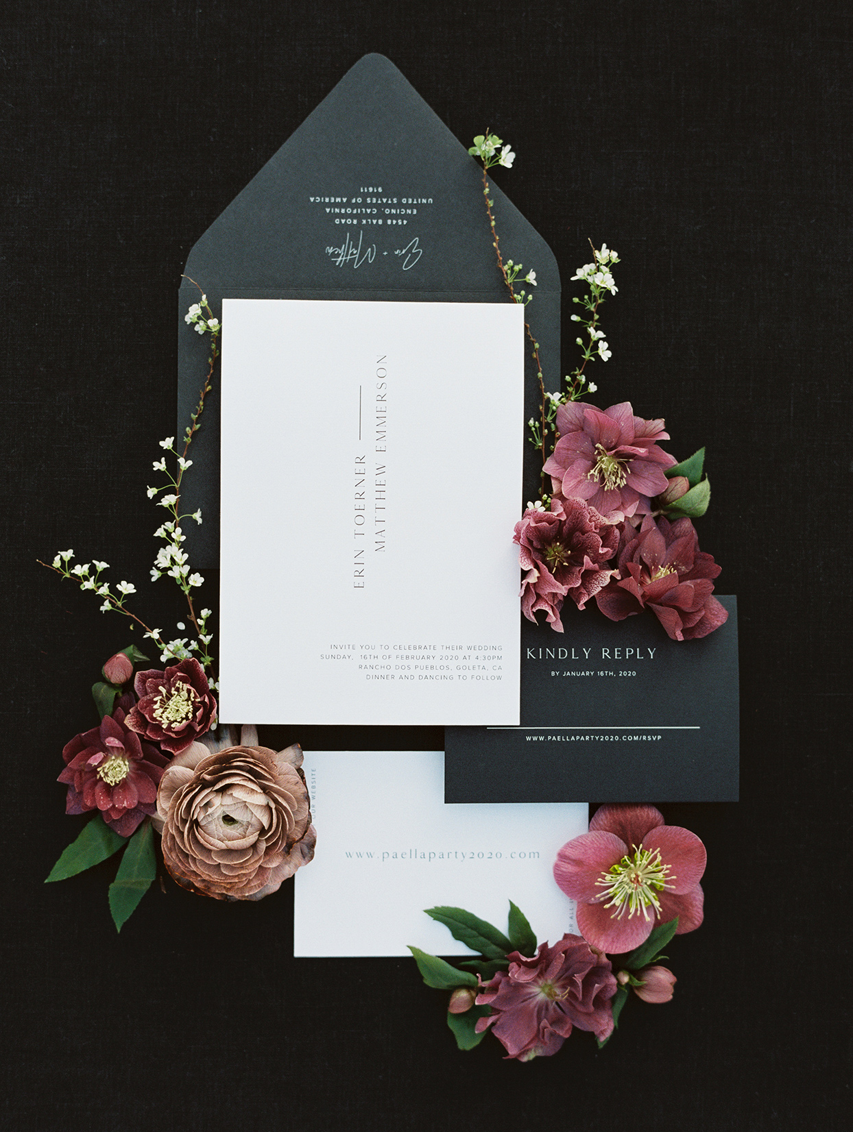 black, gold and maroon wedding invitation suite