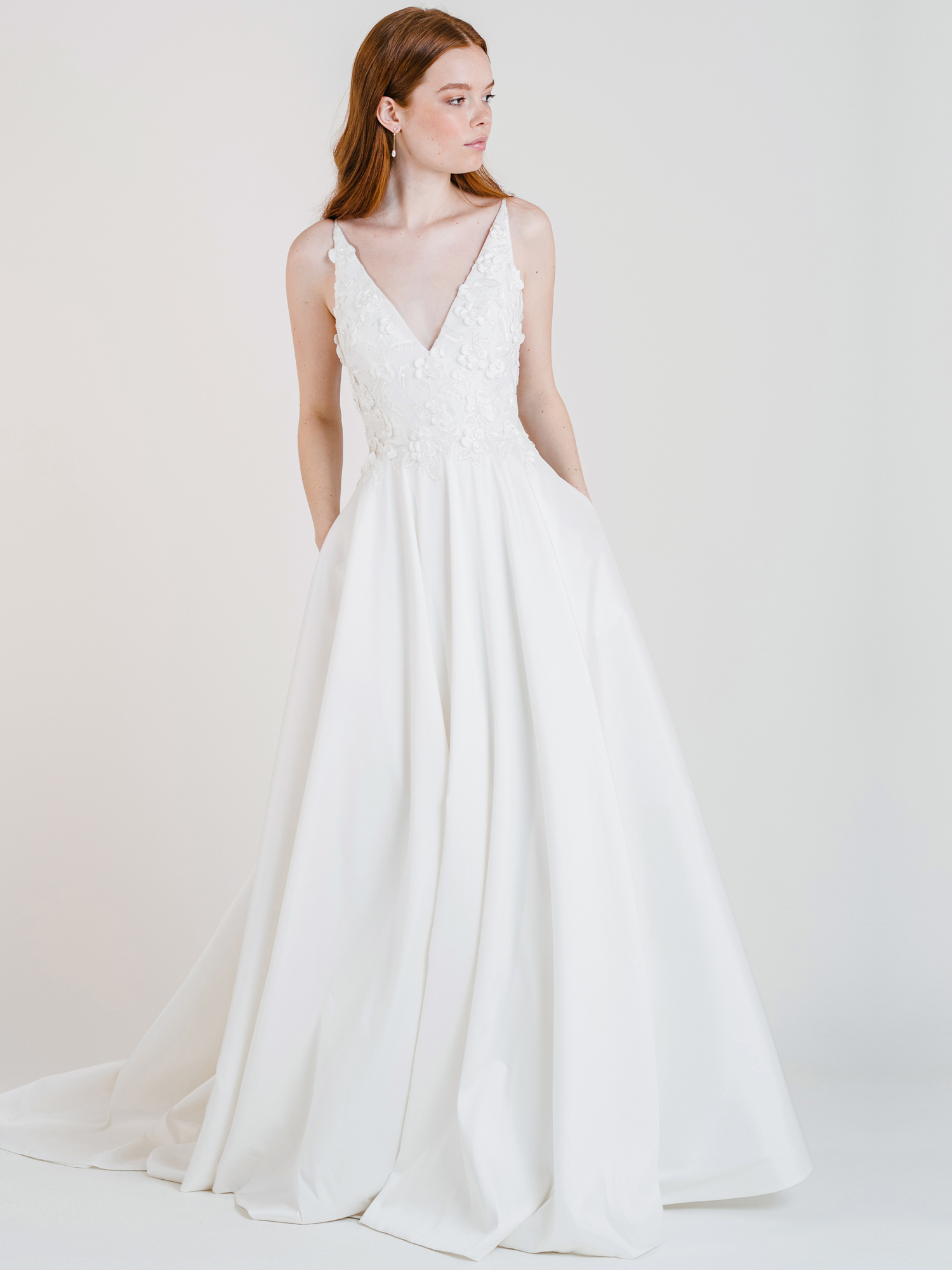 jenny by jenny yoo a-line v-neck floral embellished wedding dress fall 2020