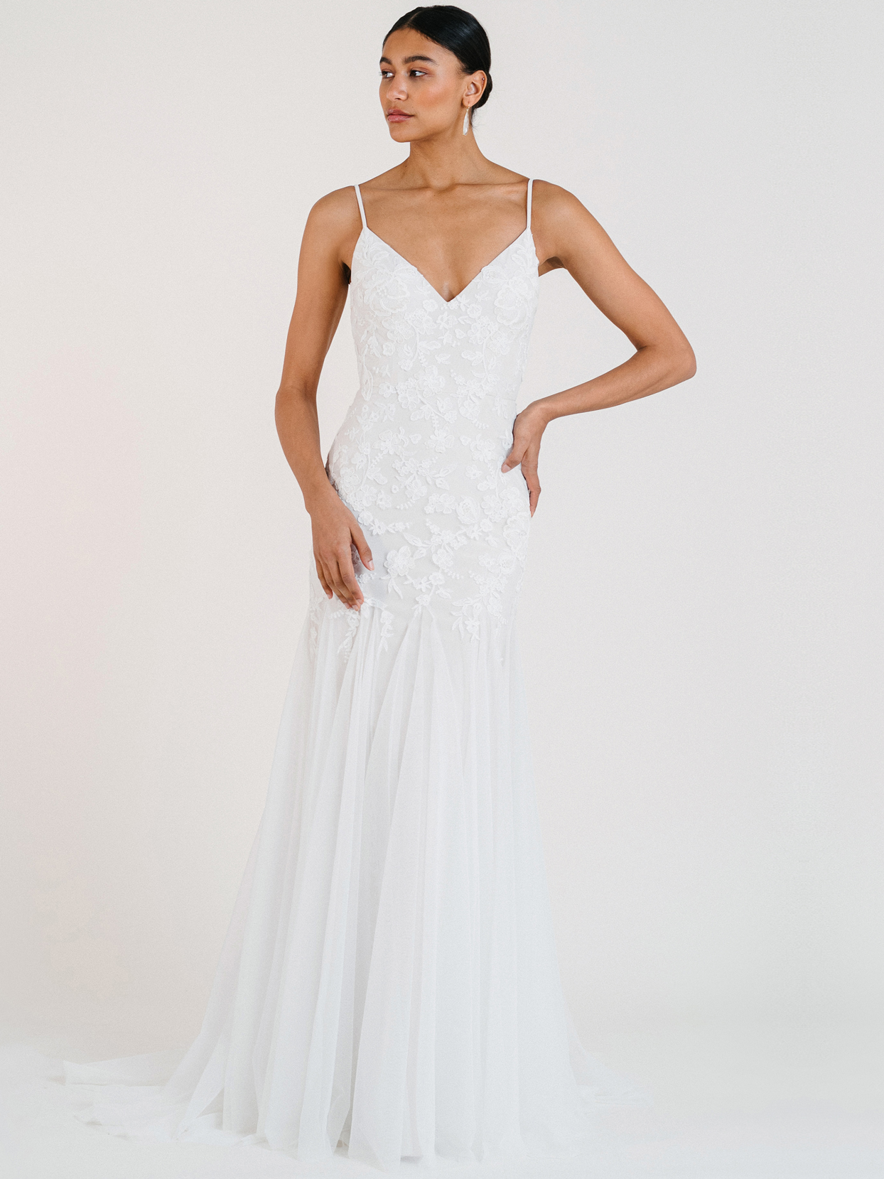 jenny by jenny yoo trumpet tulle lace v-neck wedding dress fall 2020