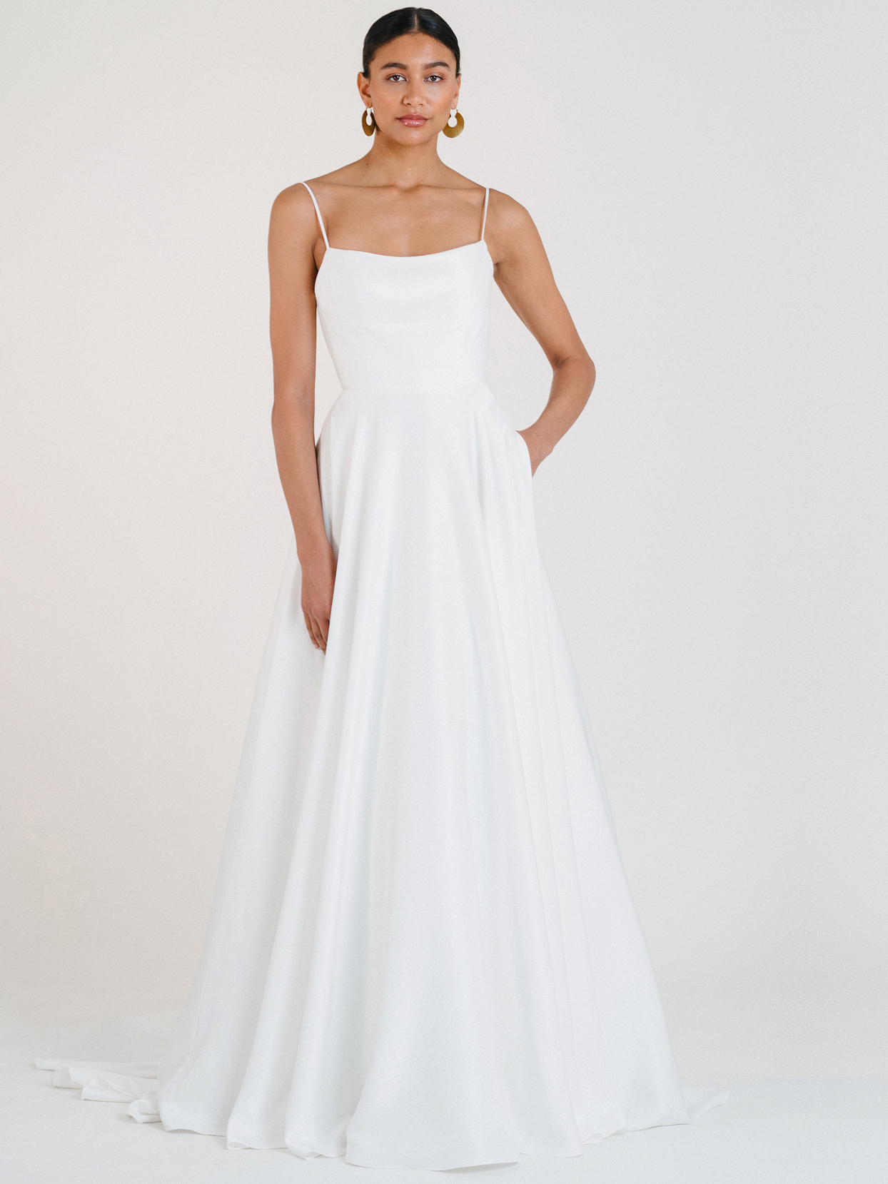 jenny by jenny yoo thin strap straight across a-line wedding dress fall 2020
