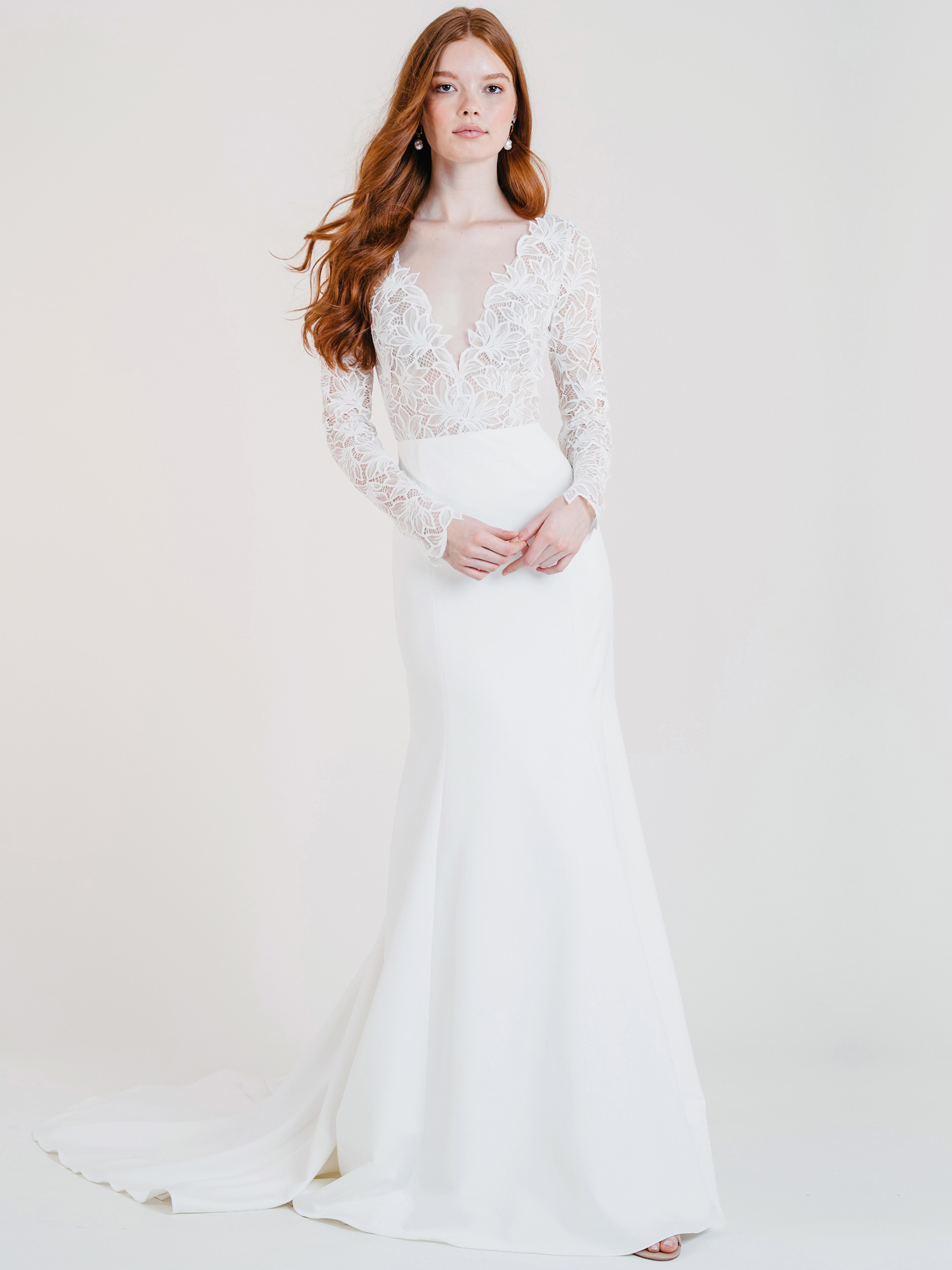 jenny by jenny yoo lace long sleeve deep v-neck wedding dress fall 2020