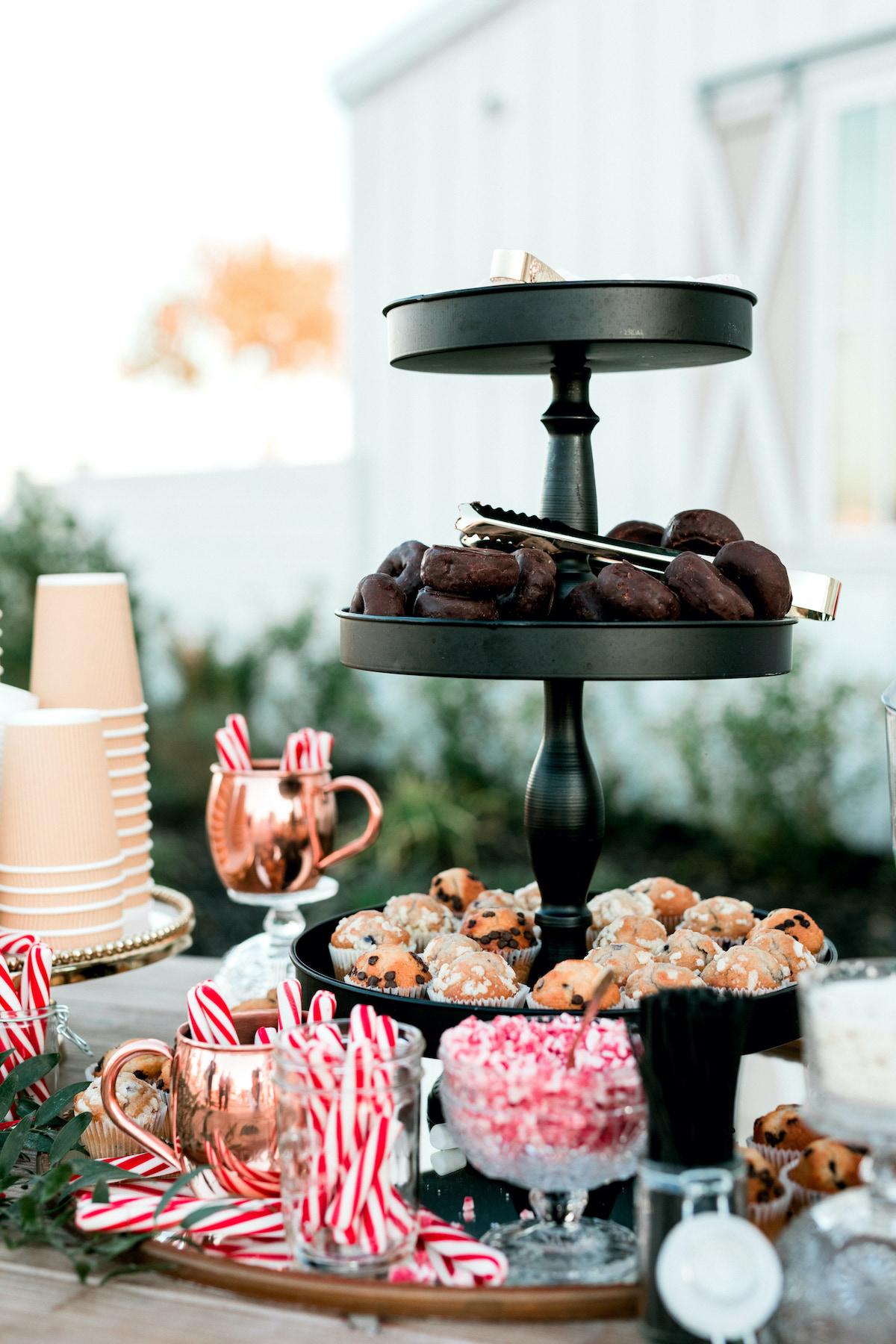 wedding hot chocolate station with muffins