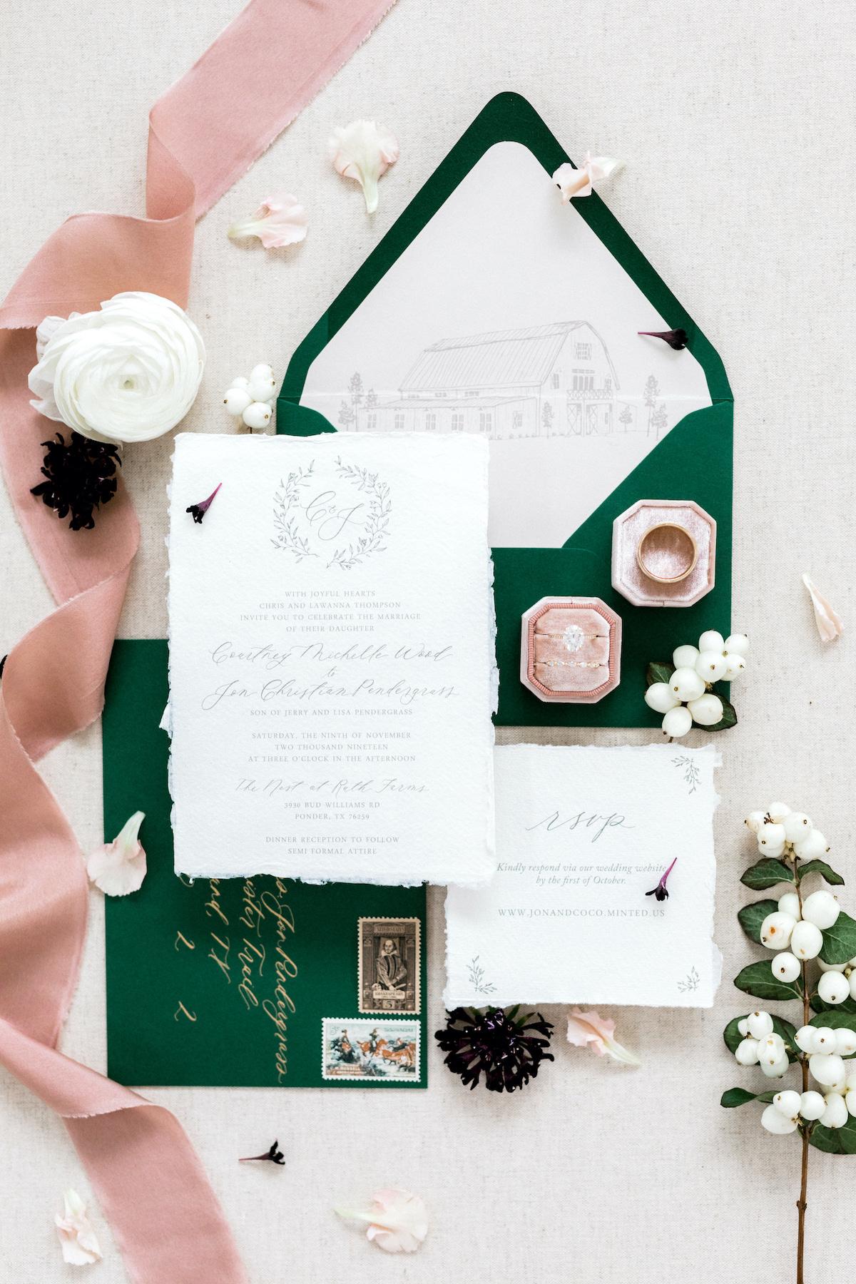 dark green, white and pink wedding invitations