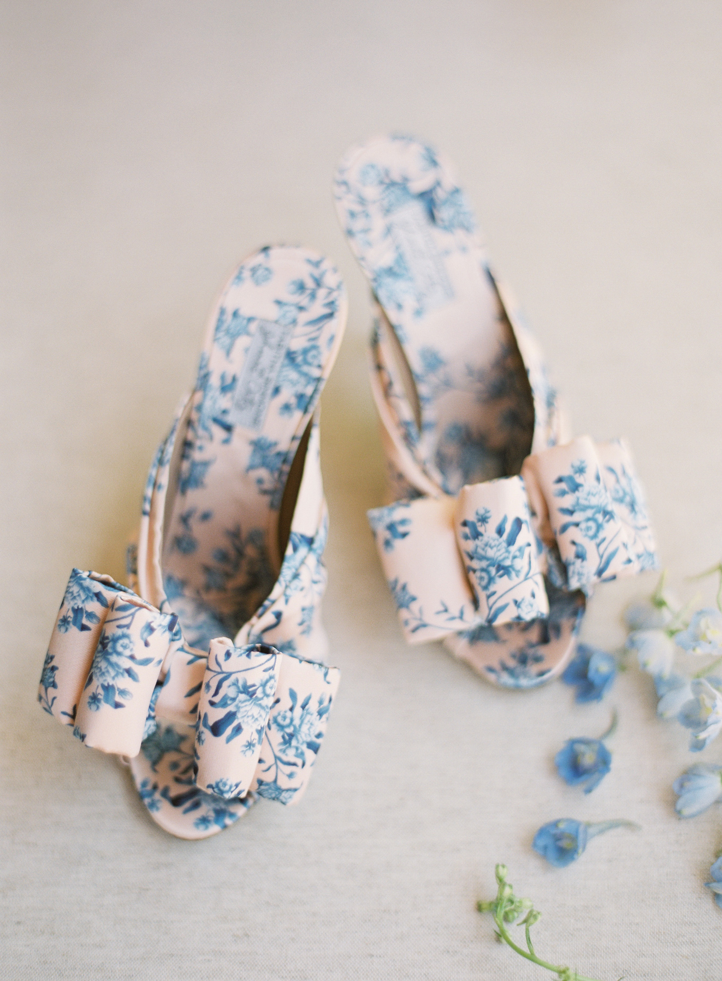 blue and white floral wedding shoes