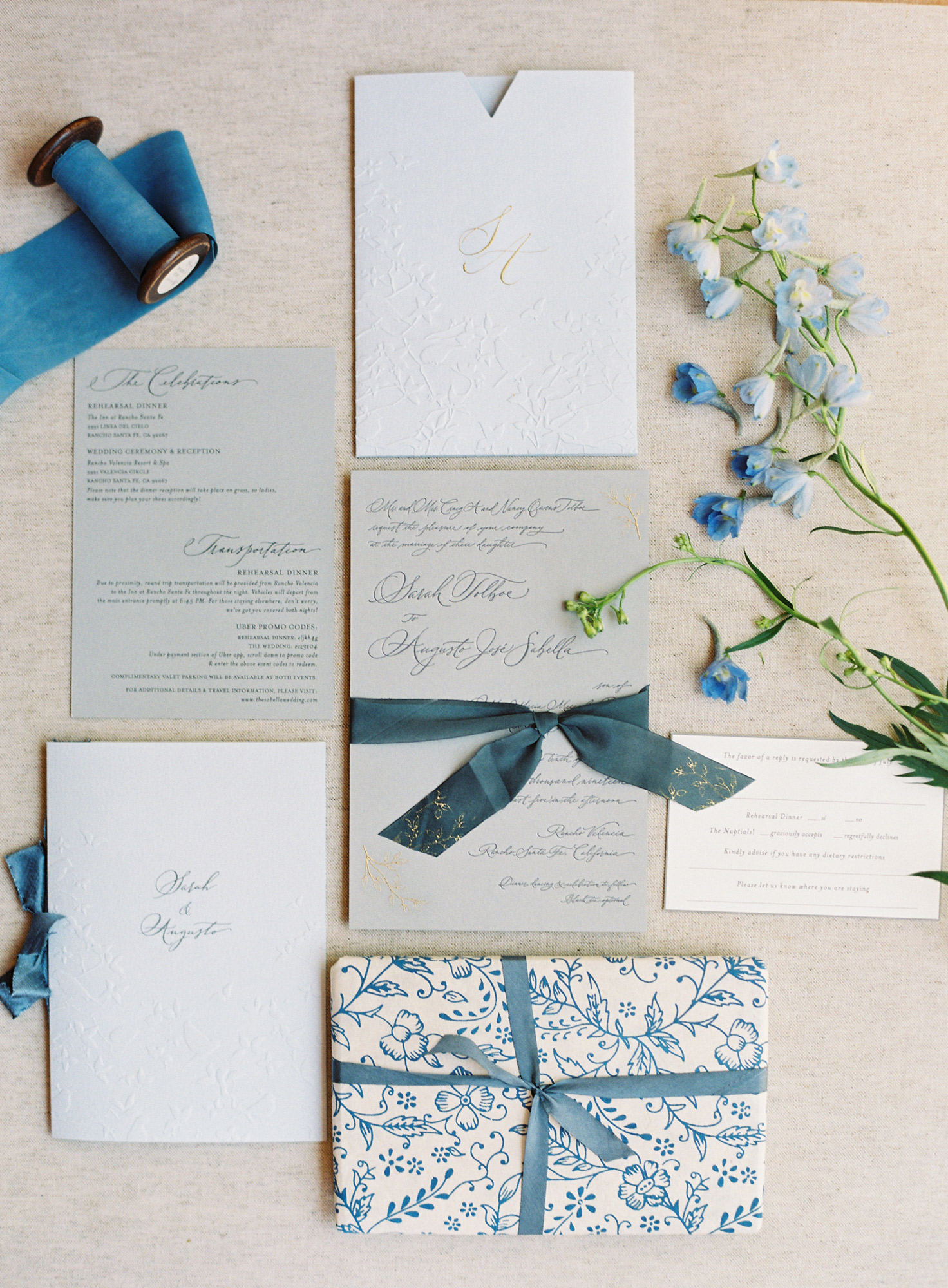 blue and white wedding invitation package