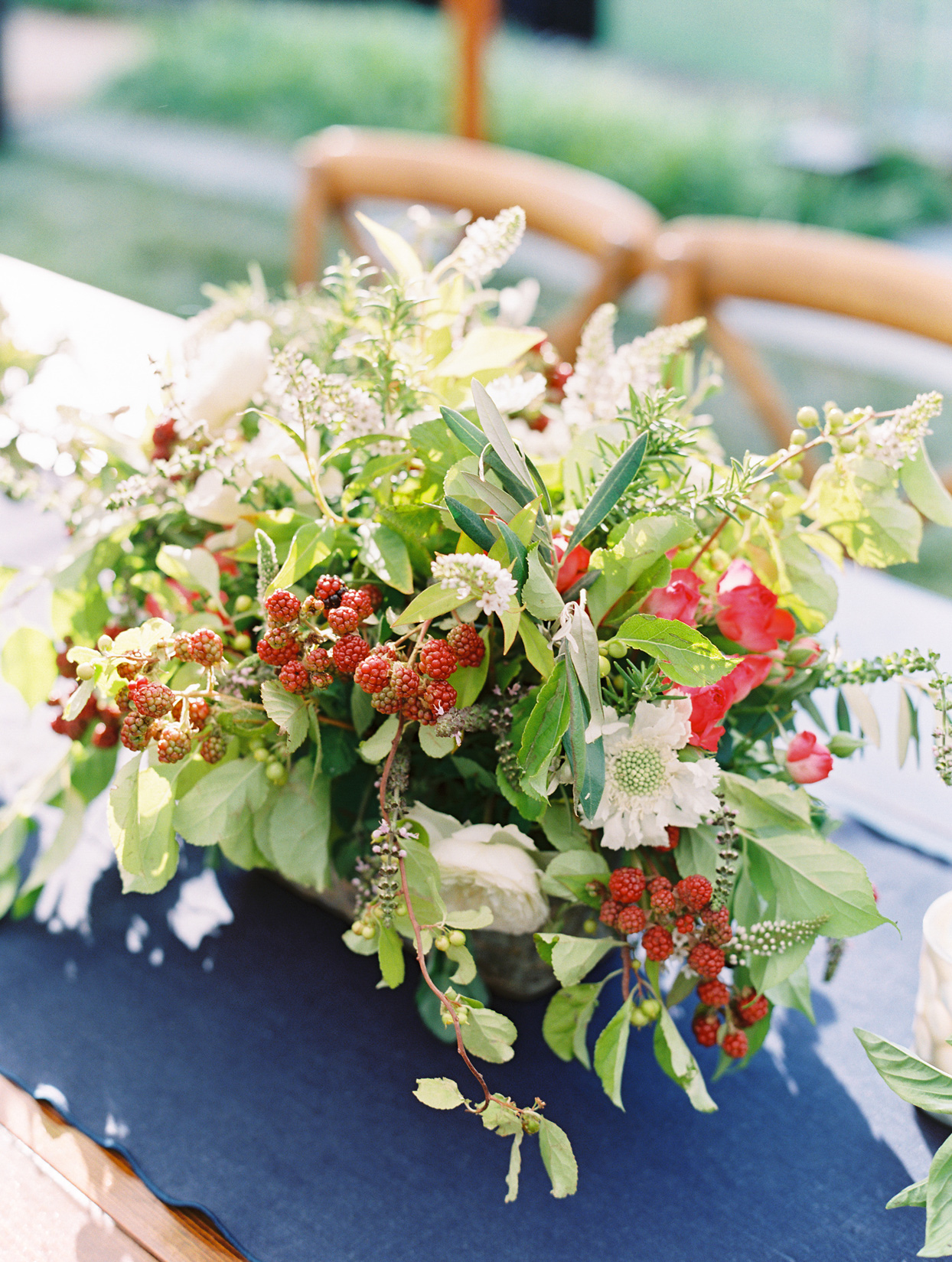 natural themed floral and berry centerpieces