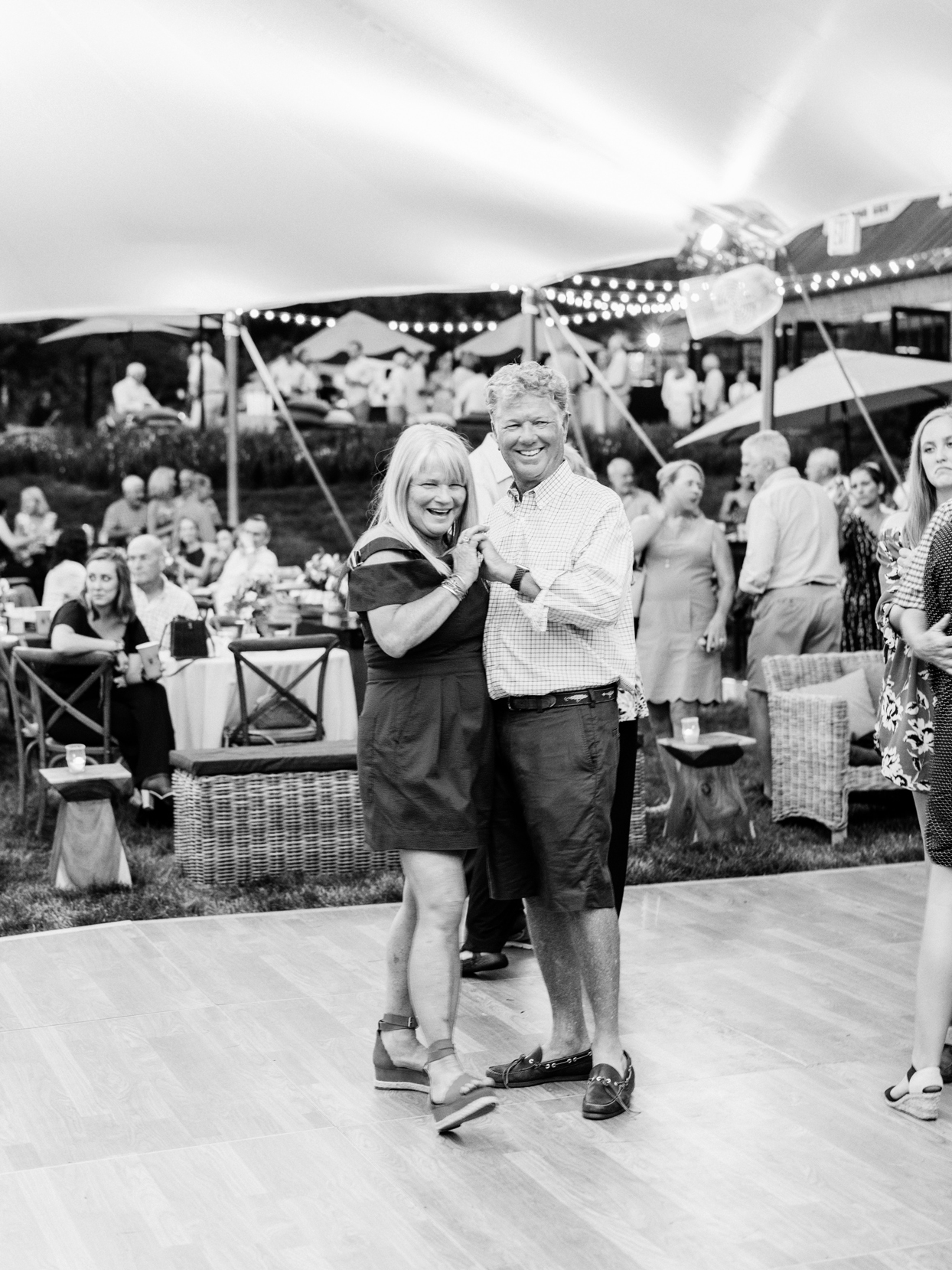 anniversary party couple dancing on outdoor party floor