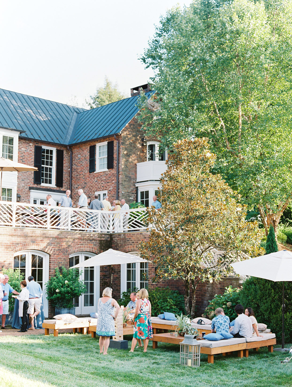 outdoor brick home anniversary party