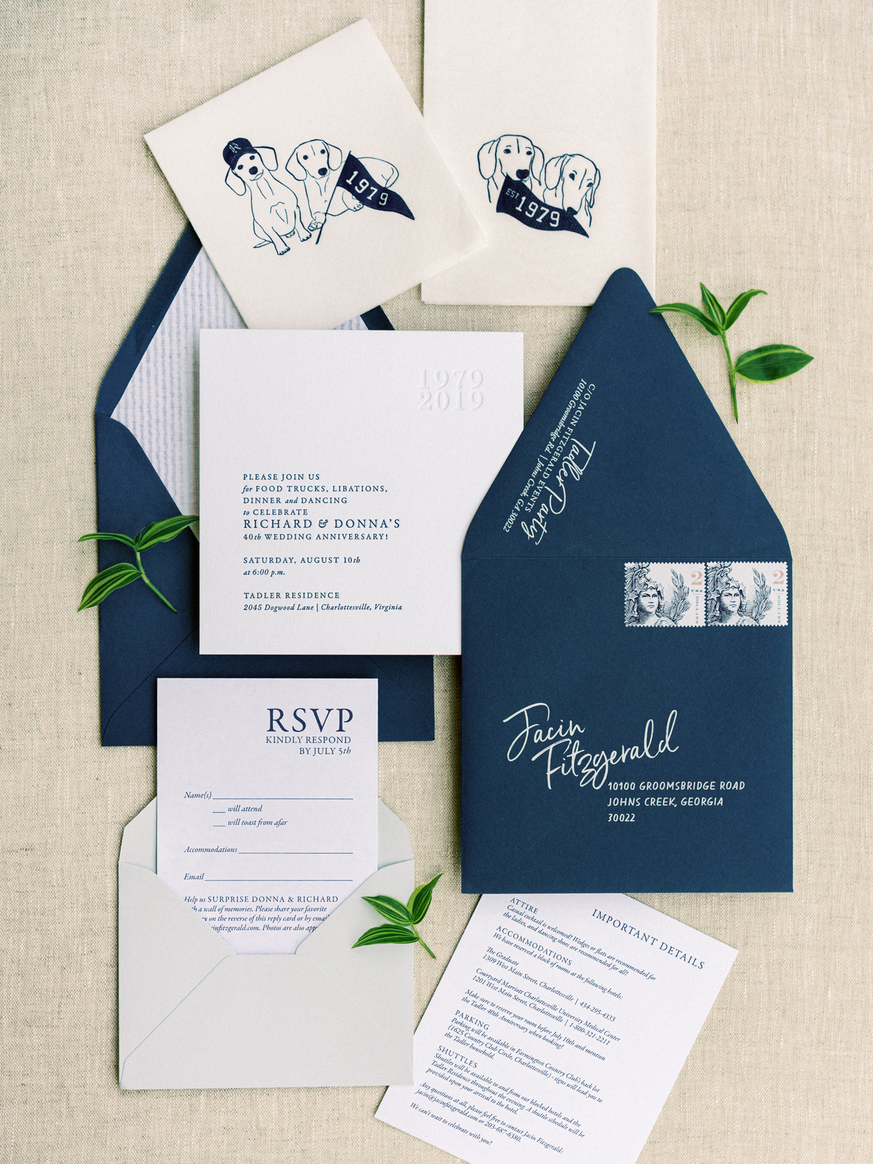 navy and cream anniversary party invites with dog decals
