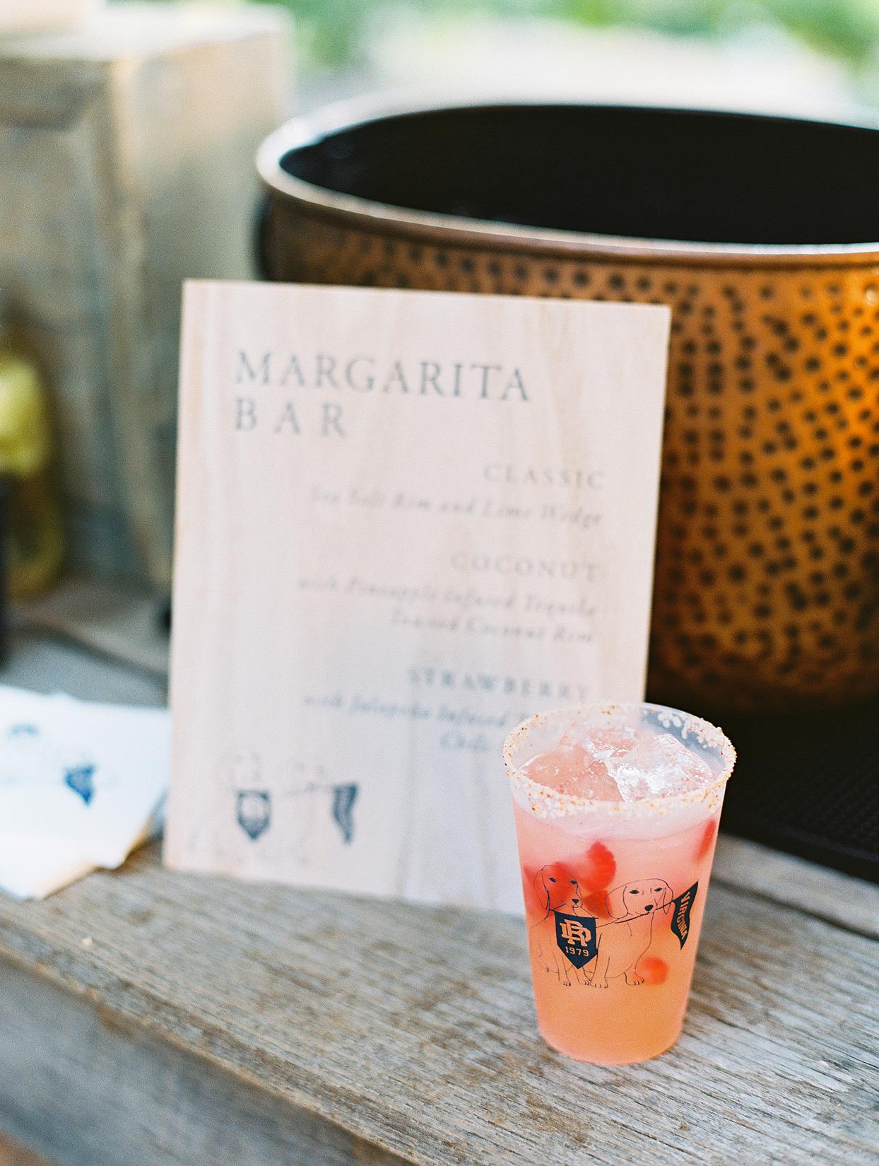Margarita bar anniversary party menu
