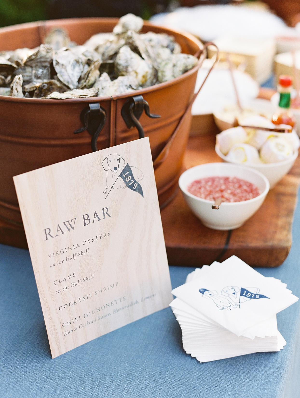 Raw bar anniversary party menu