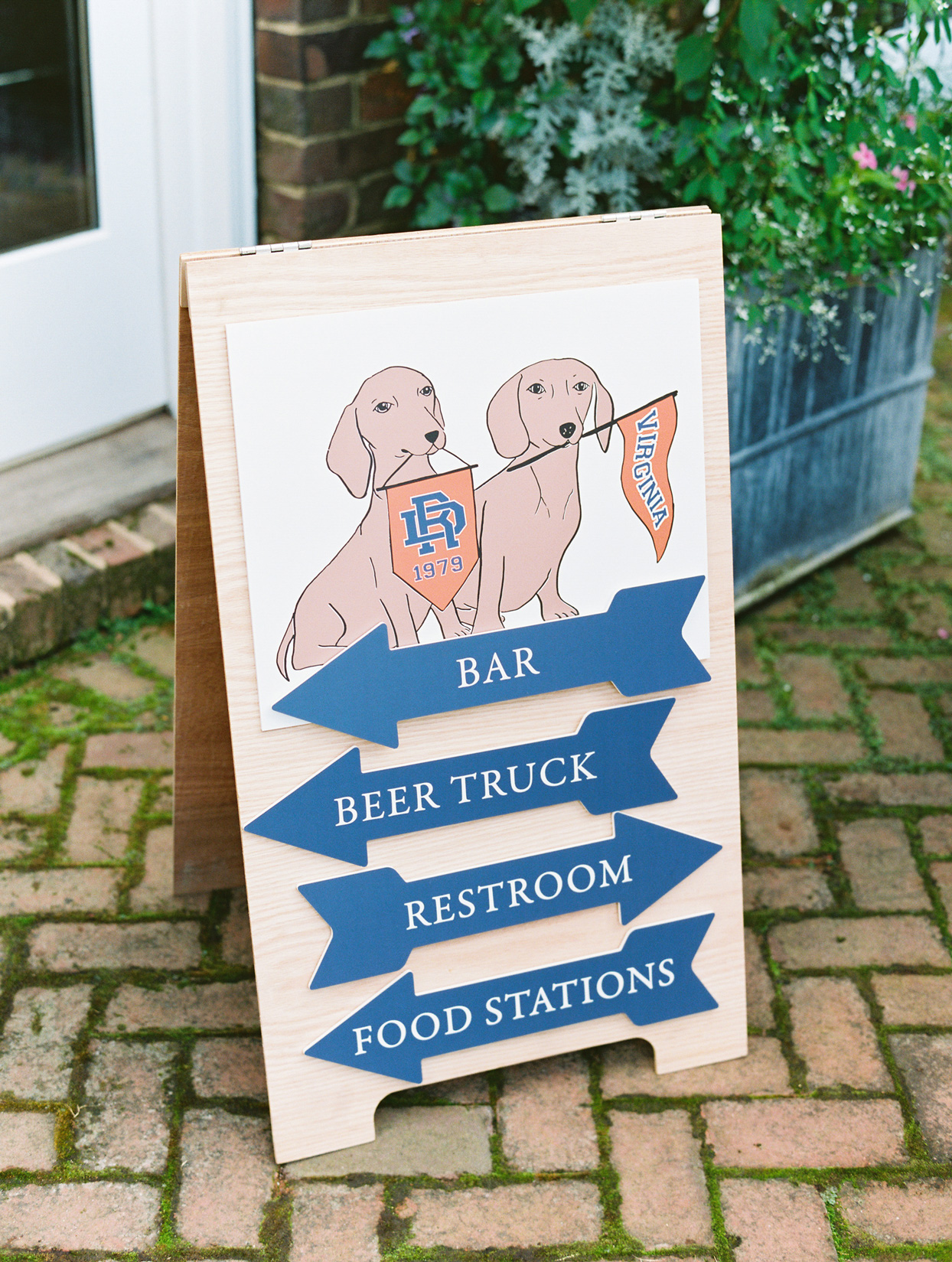 anniversary party locations sign with dog decal