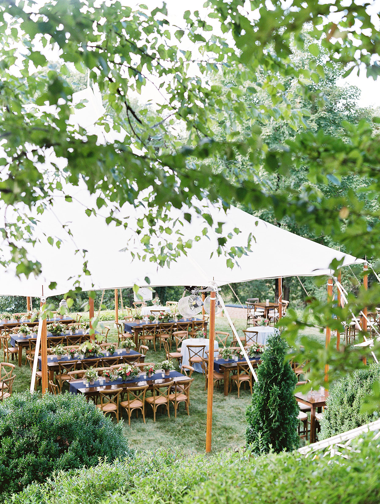 outdoor white tent anniversary party