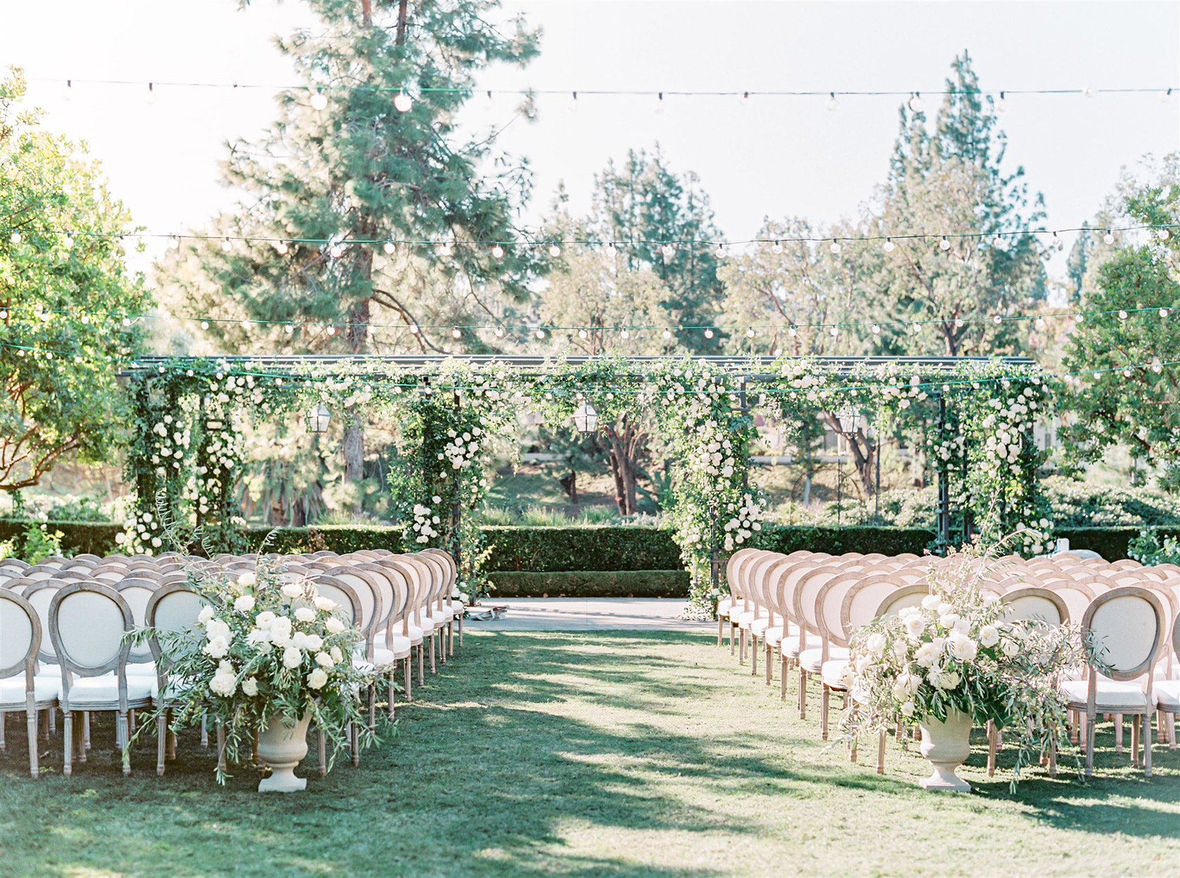Wedding ceremony with metal arch, large olives, olive branches, peonies, garden roses, and foliage