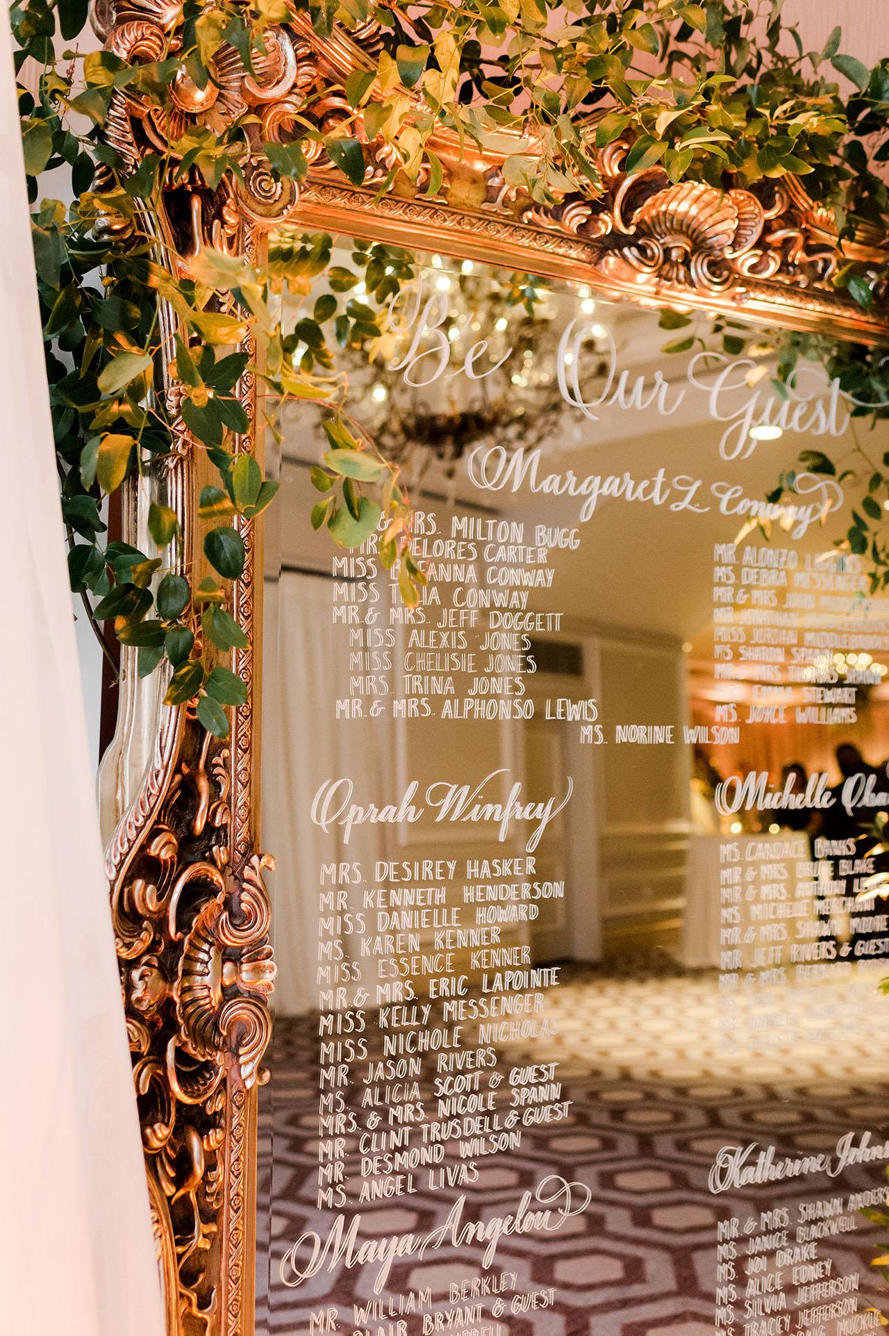 denita john wedding seating chart mirror