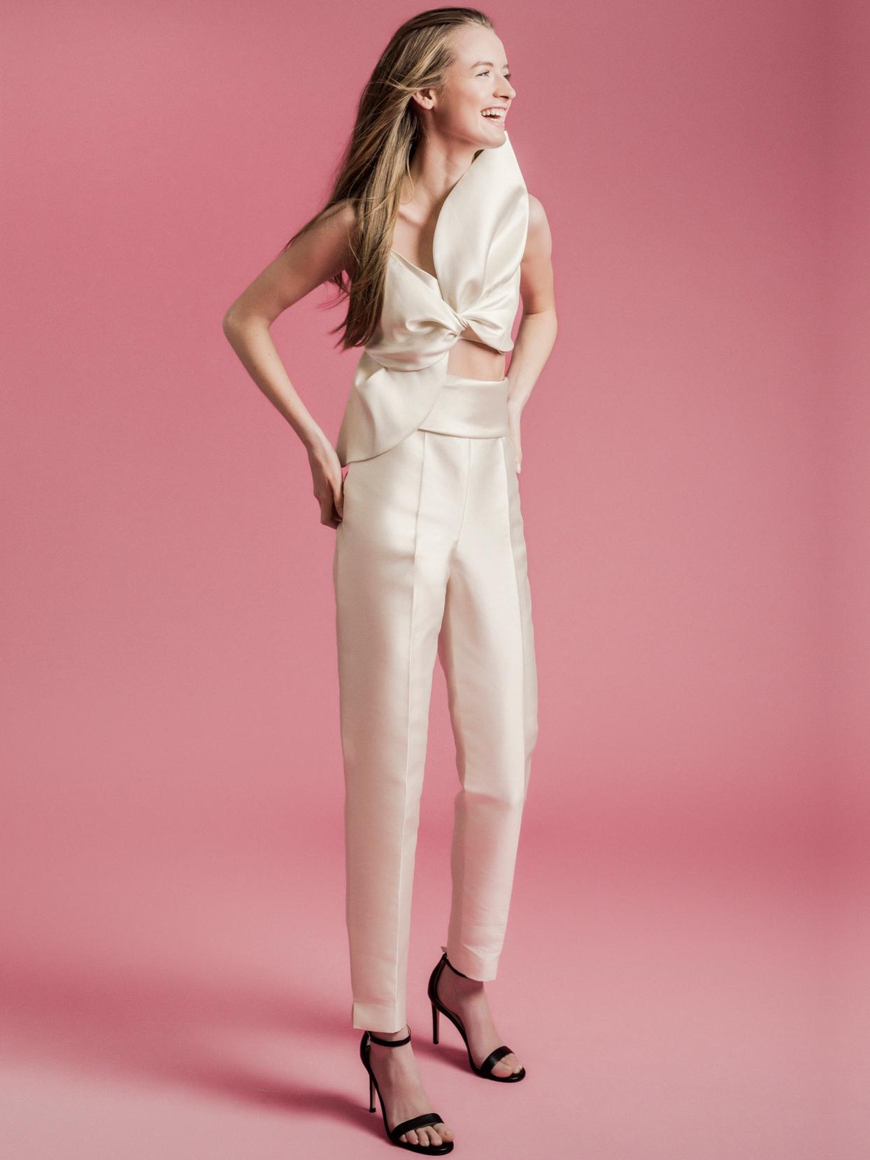 Sophie Et Voilà large bow top pantsuit wedding dress spring 2021