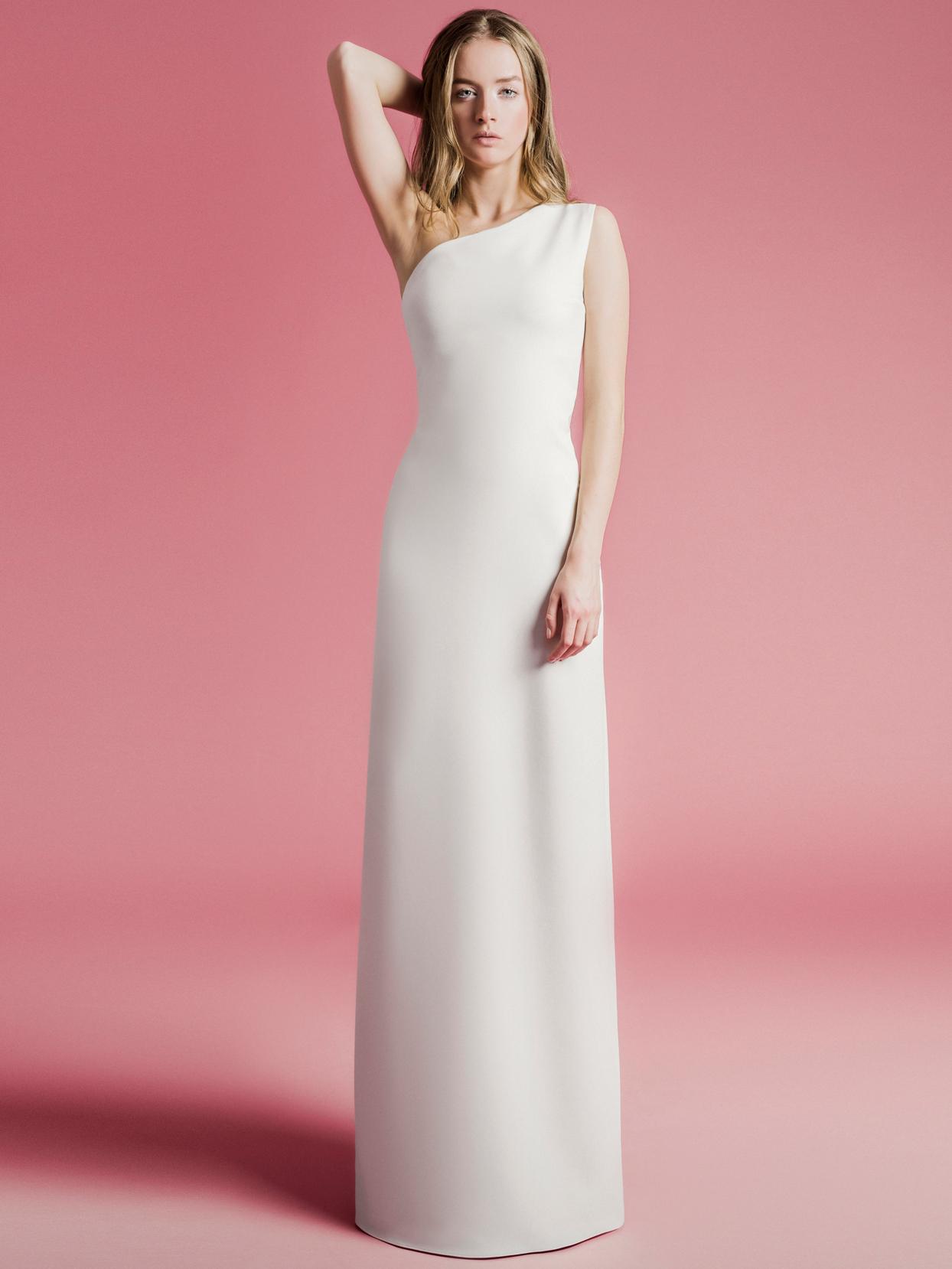 Sophie Et Voilà one shoulder sheath wedding dress spring 2021