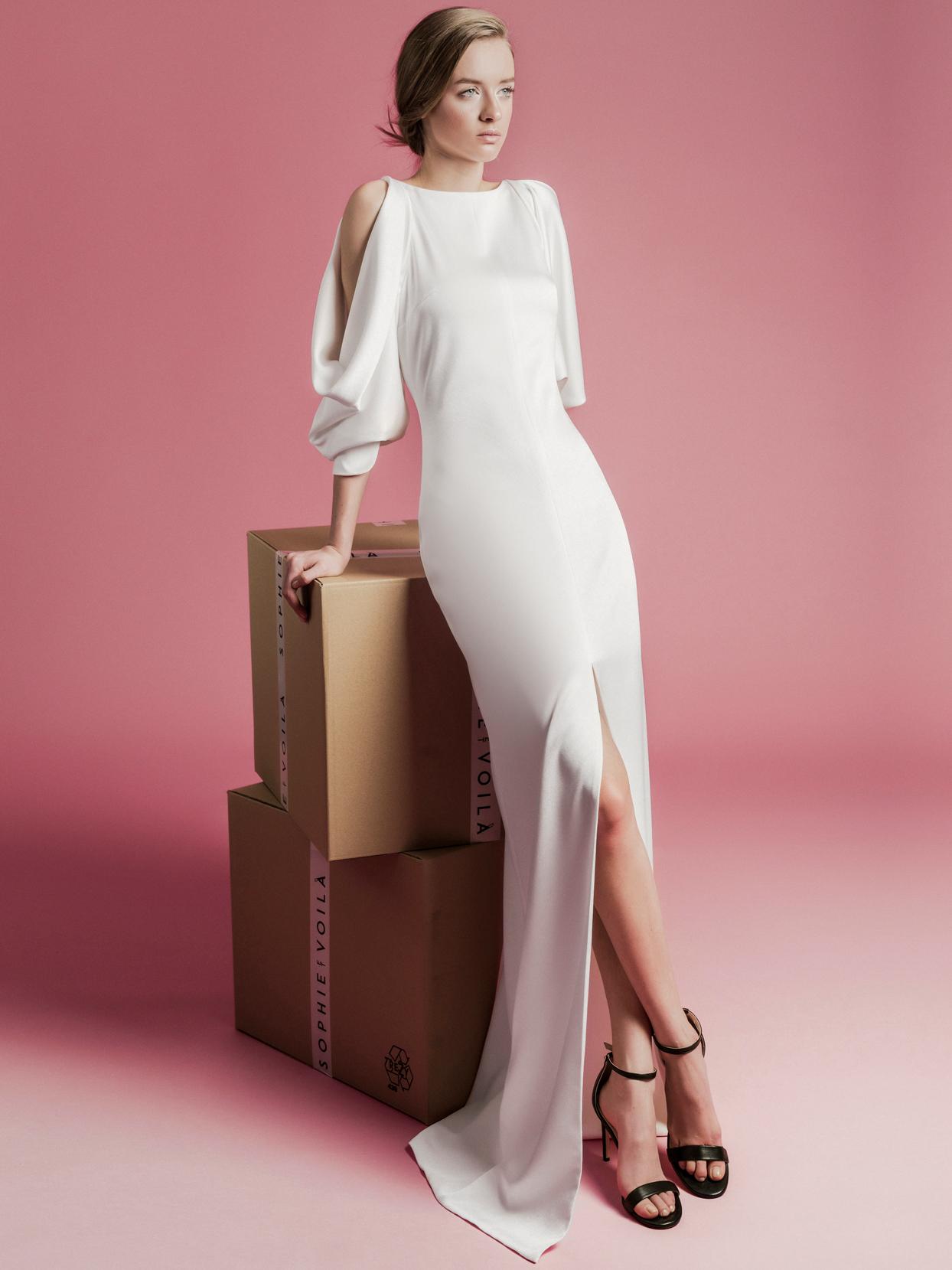 Sophie Et Voilà key hole long sleeve front slit wedding dress spring 2021