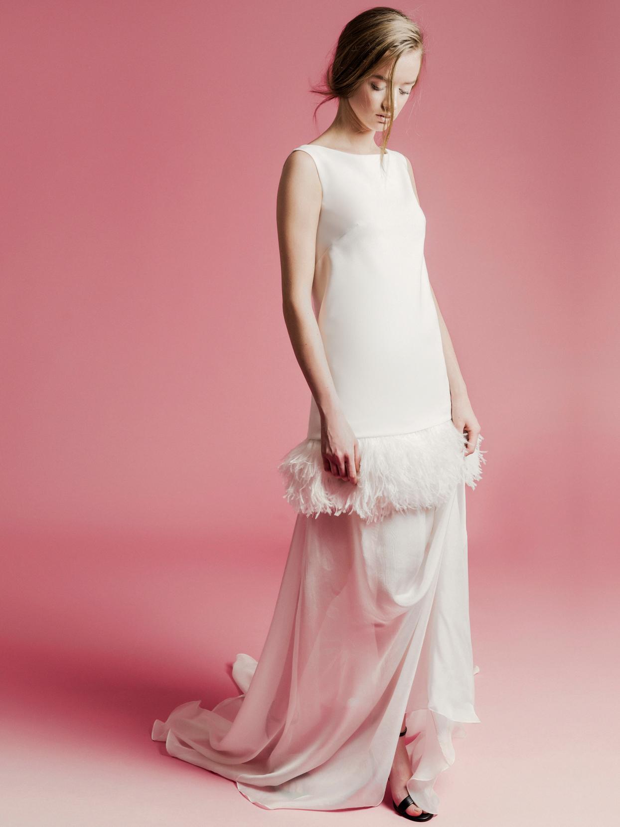 Sophie Et Voilà feathered drop-waist sleeveless wedding dress spring 2021